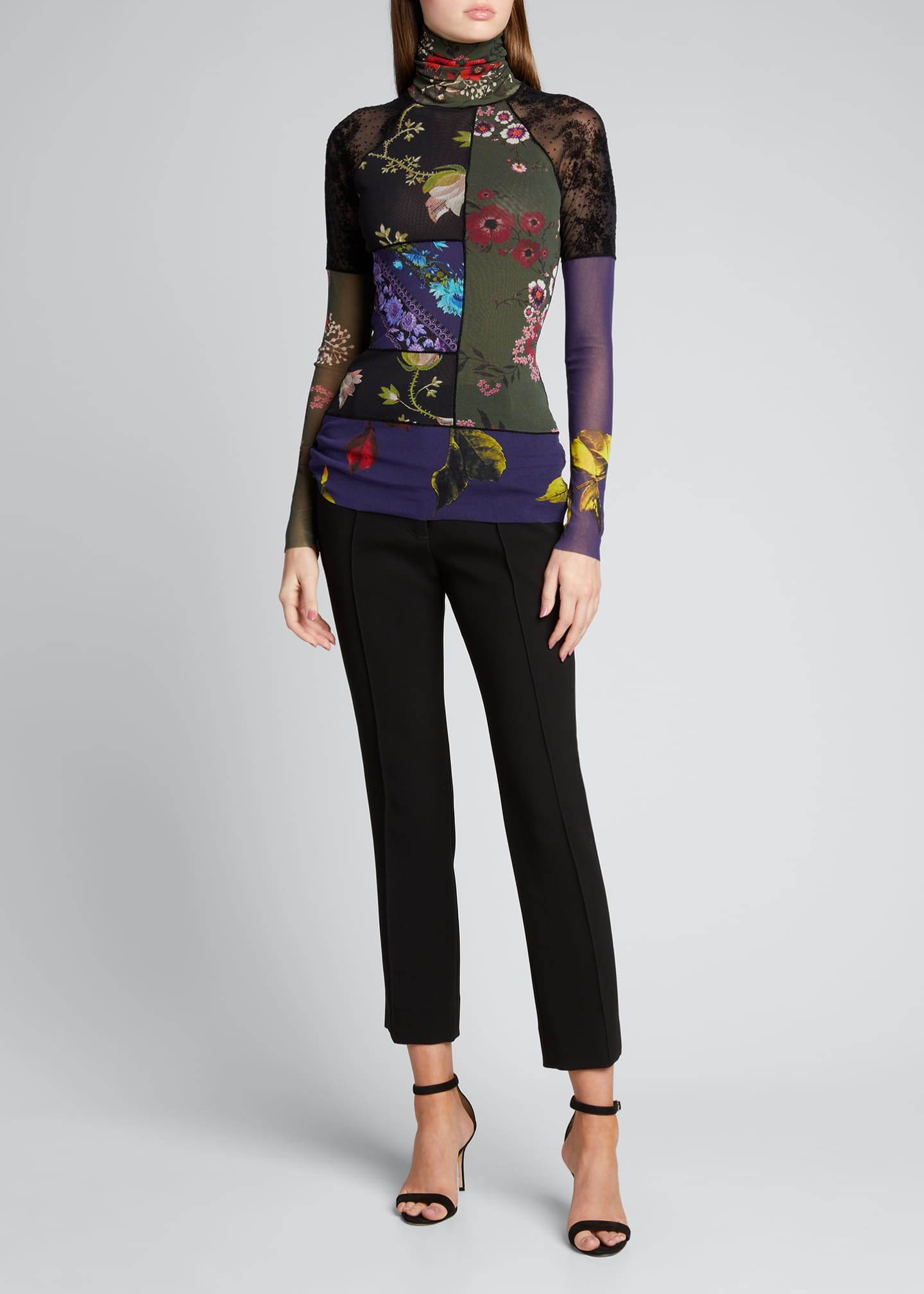 Image 1 of 5: Patchwork Long Sleeve Turtleneck Top