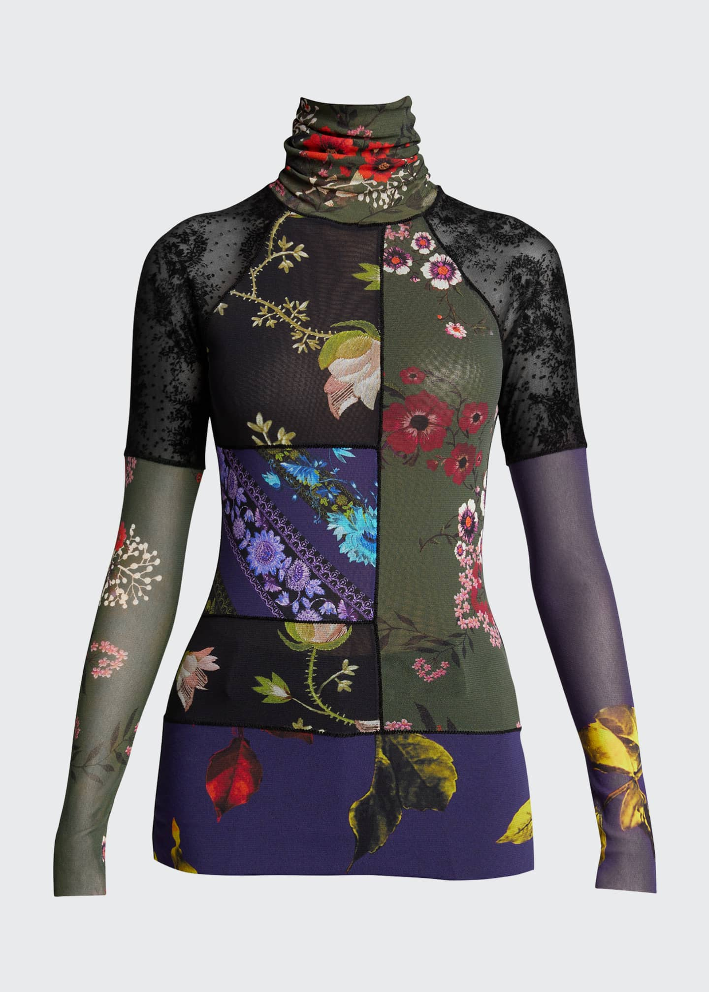 Image 5 of 5: Patchwork Long Sleeve Turtleneck Top
