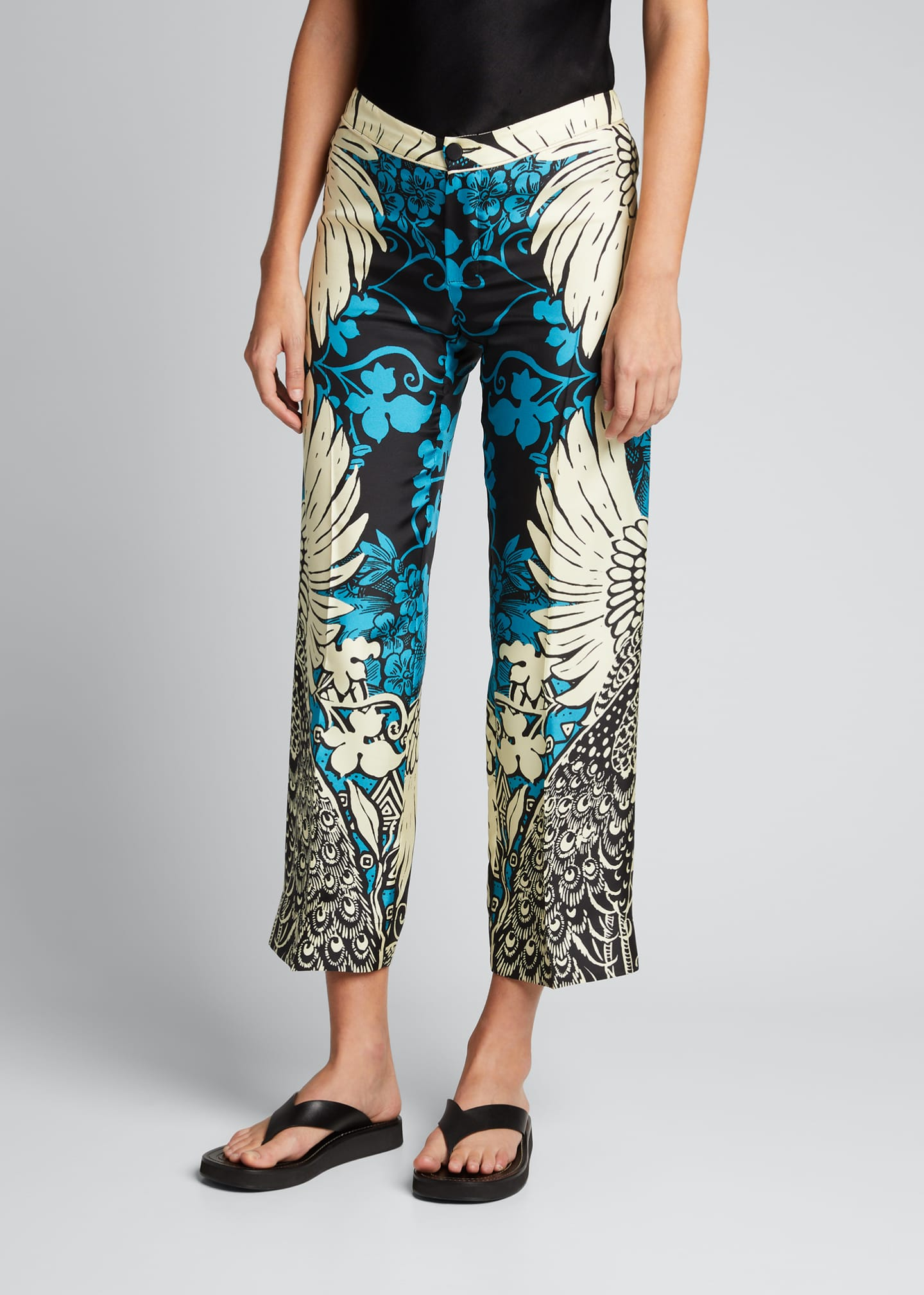 Image 3 of 5: Mixed Print Silk Trousers