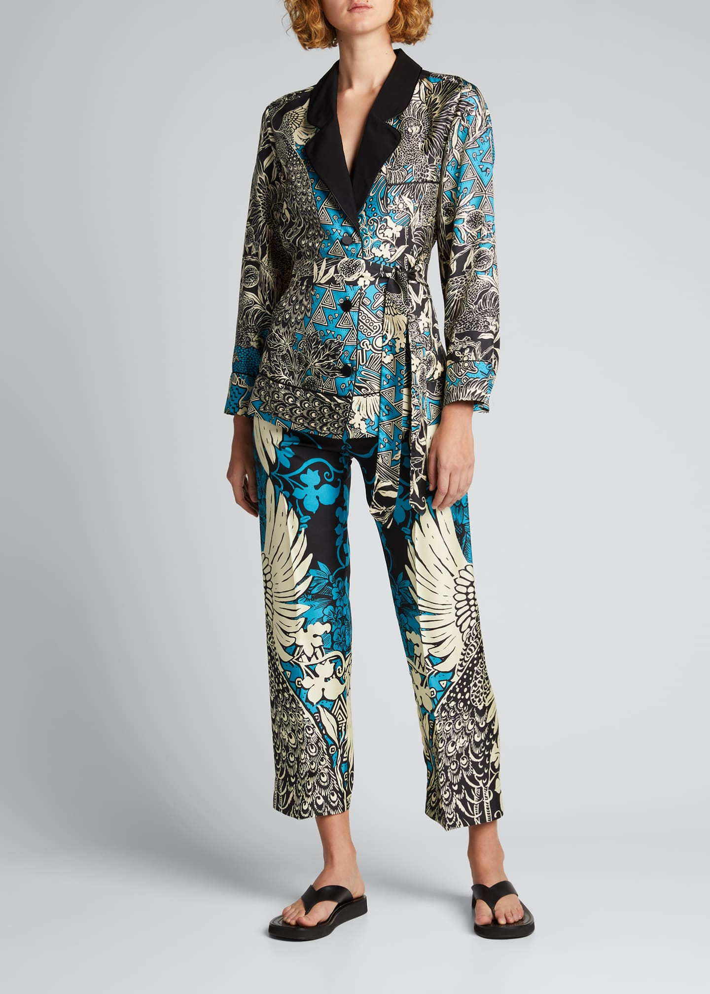 Image 1 of 5: Mixed Print Silk Trousers