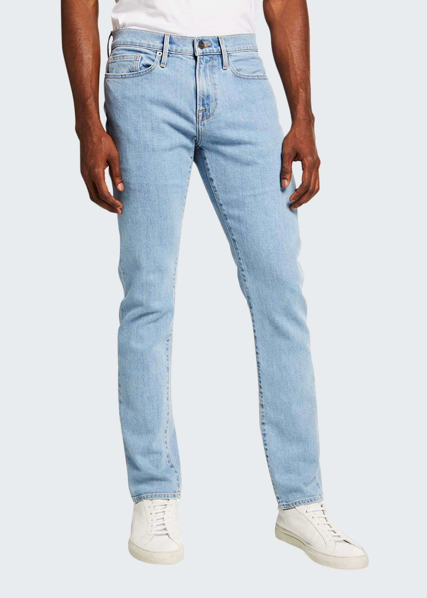 Image 1 of 3: Men's L'Homme Slim Light Wash Denim Jeans
