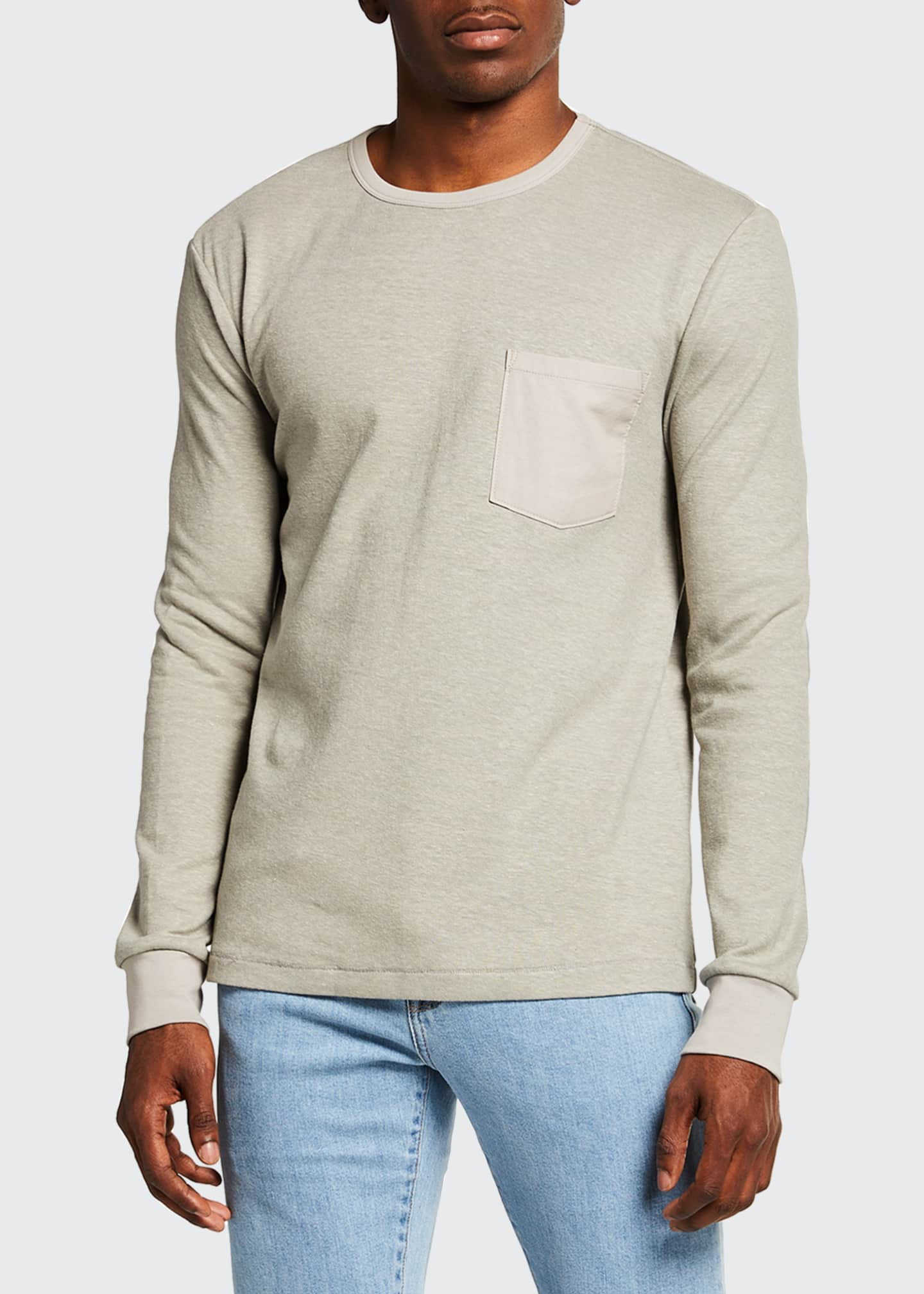 Image 1 of 2: Men's Long-Sleeve Crew Tee w/ Pocket
