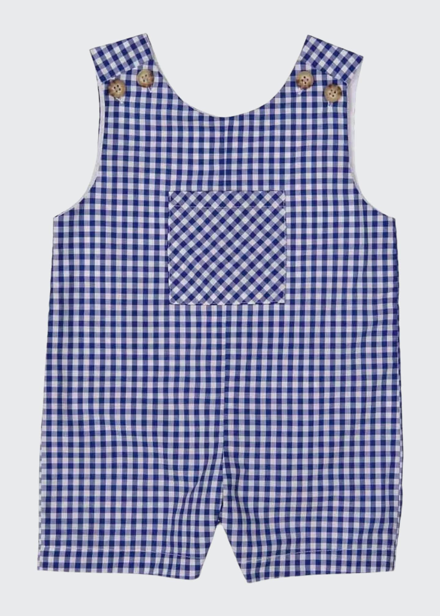 Image 1 of 1: Boy's James Gingham Overalls, Size 3M-3