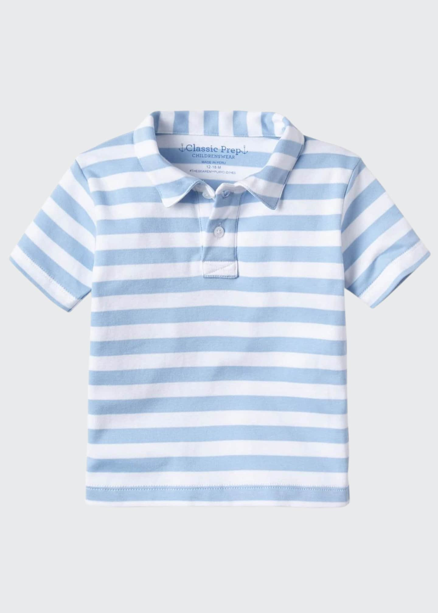 Image 1 of 1: Boy's Henry Striped Short-Sleeve Polo Shirt, Size 3M-14