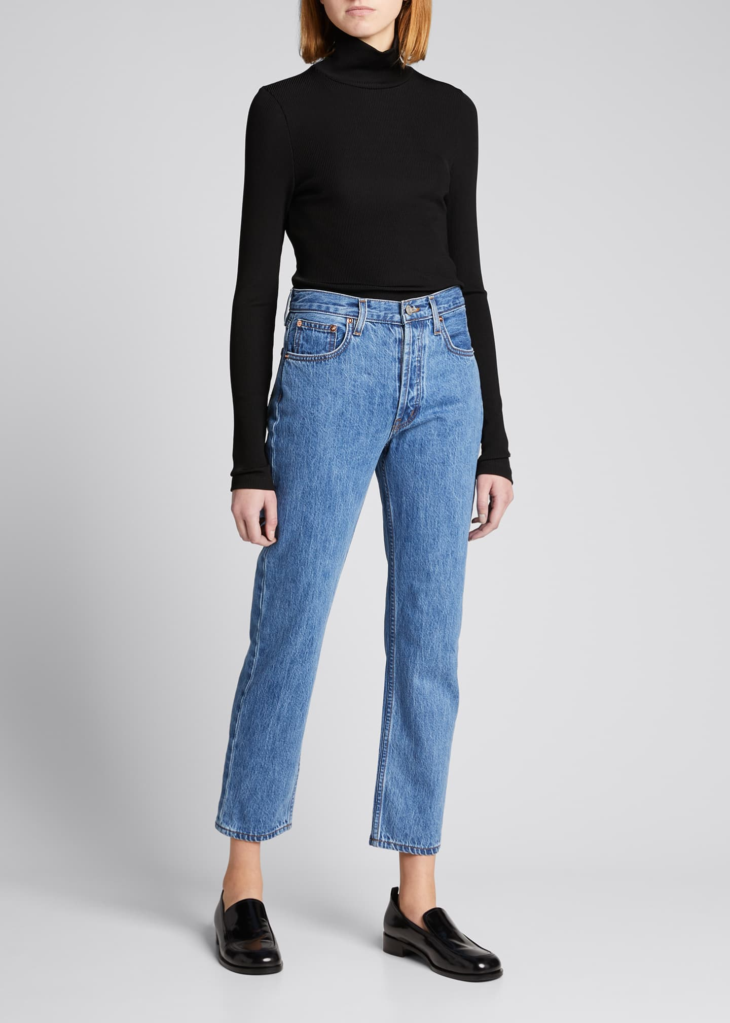 Image 2 of 5: Tate Cropped Straight-Leg Jeans with Painted Stripes