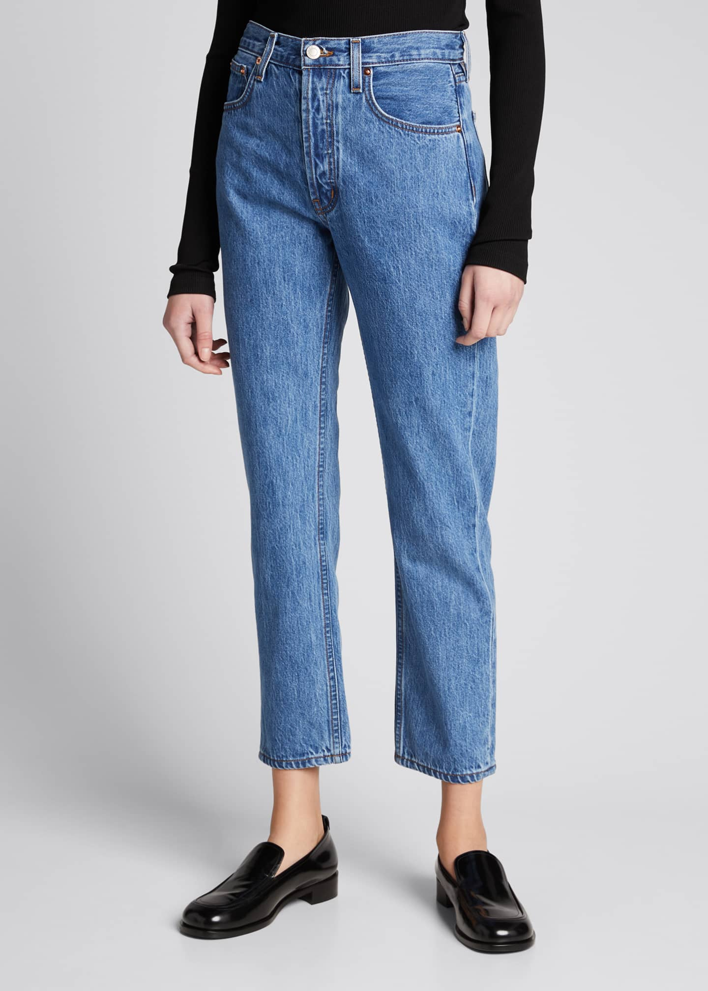 Image 3 of 5: Tate Cropped Straight-Leg Jeans with Painted Stripes