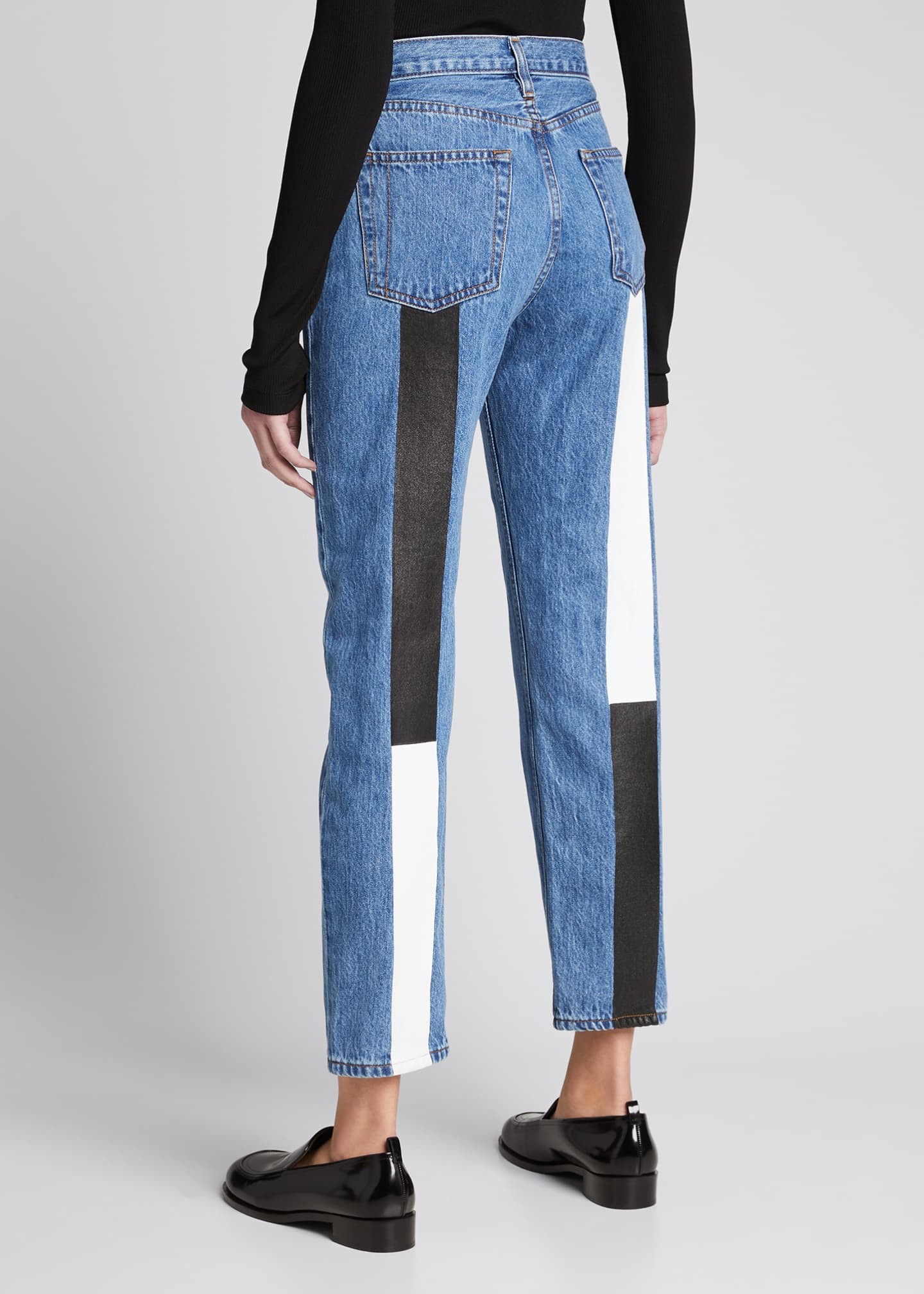 Image 1 of 5: Tate Cropped Straight-Leg Jeans with Painted Stripes