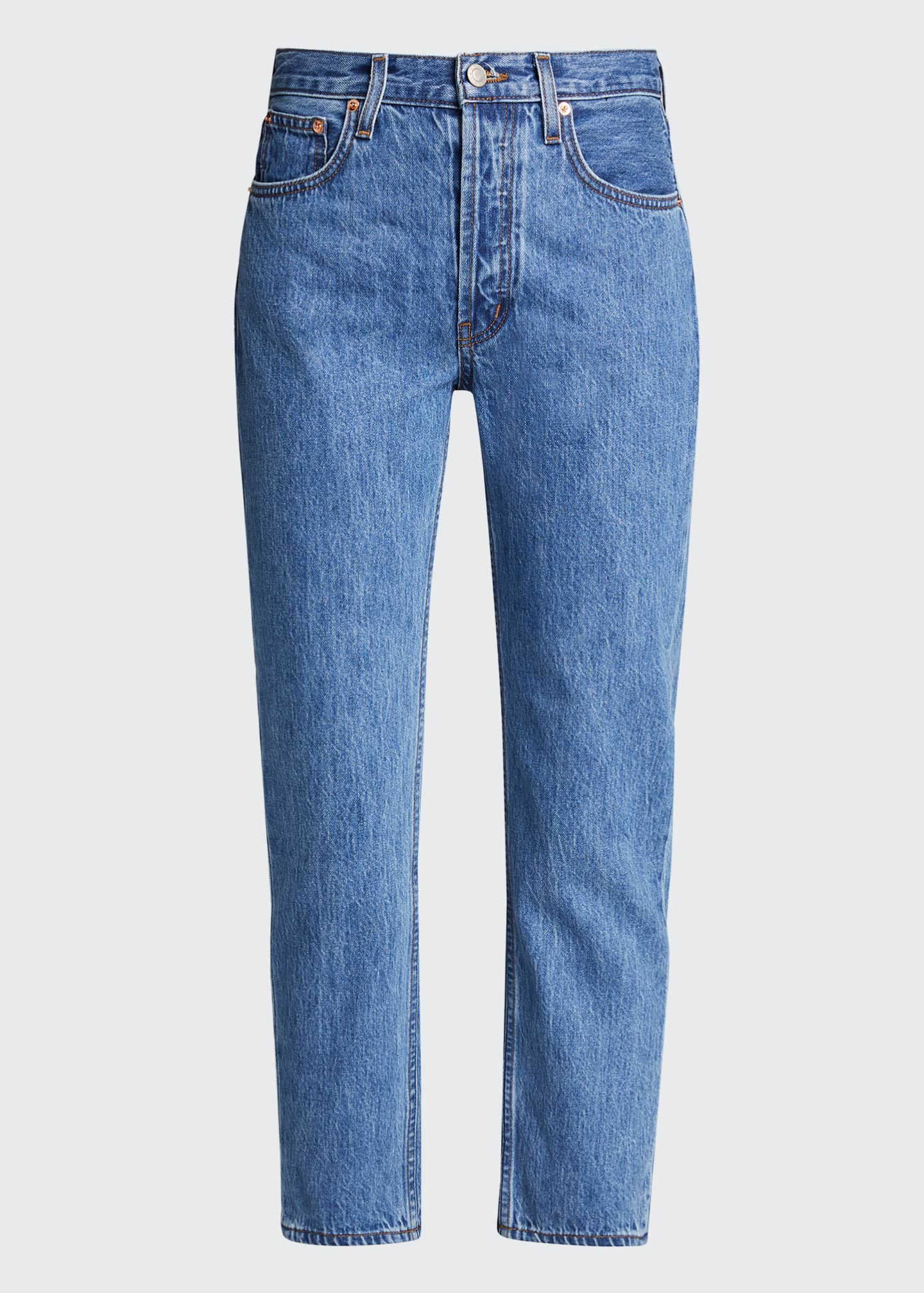 Image 5 of 5: Tate Cropped Straight-Leg Jeans with Painted Stripes