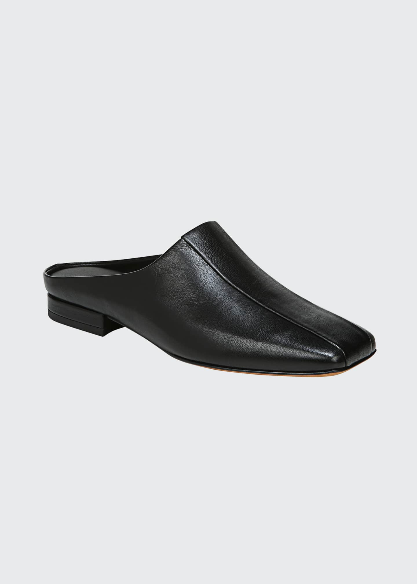 Image 2 of 4: Nida Leather Square-Toe Slide Mules