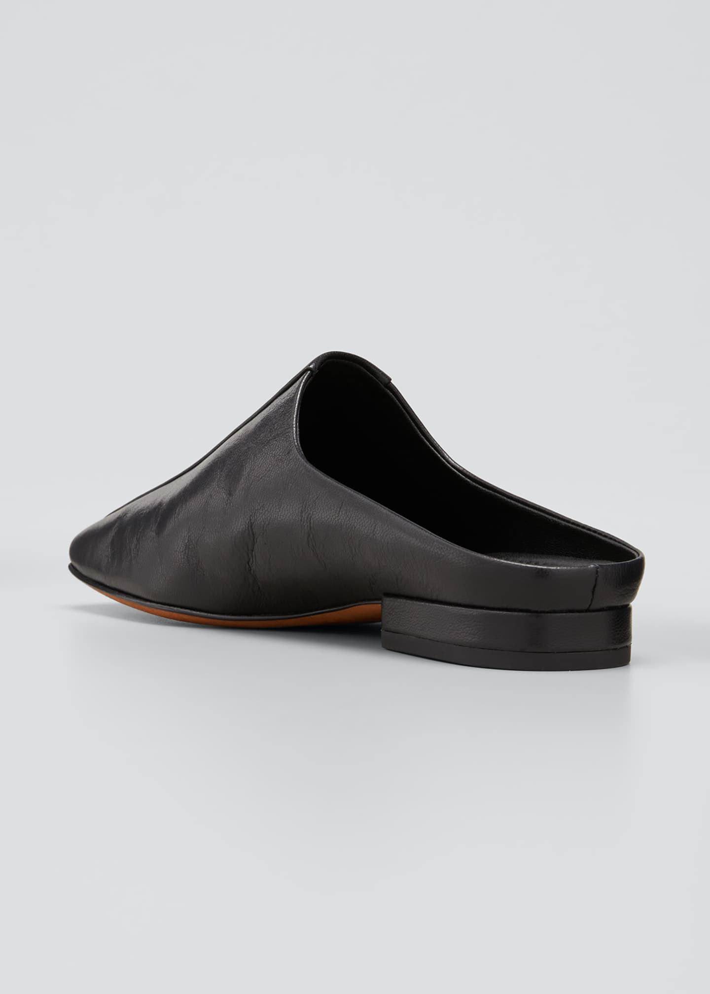 Image 3 of 4: Nida Leather Square-Toe Slide Mules