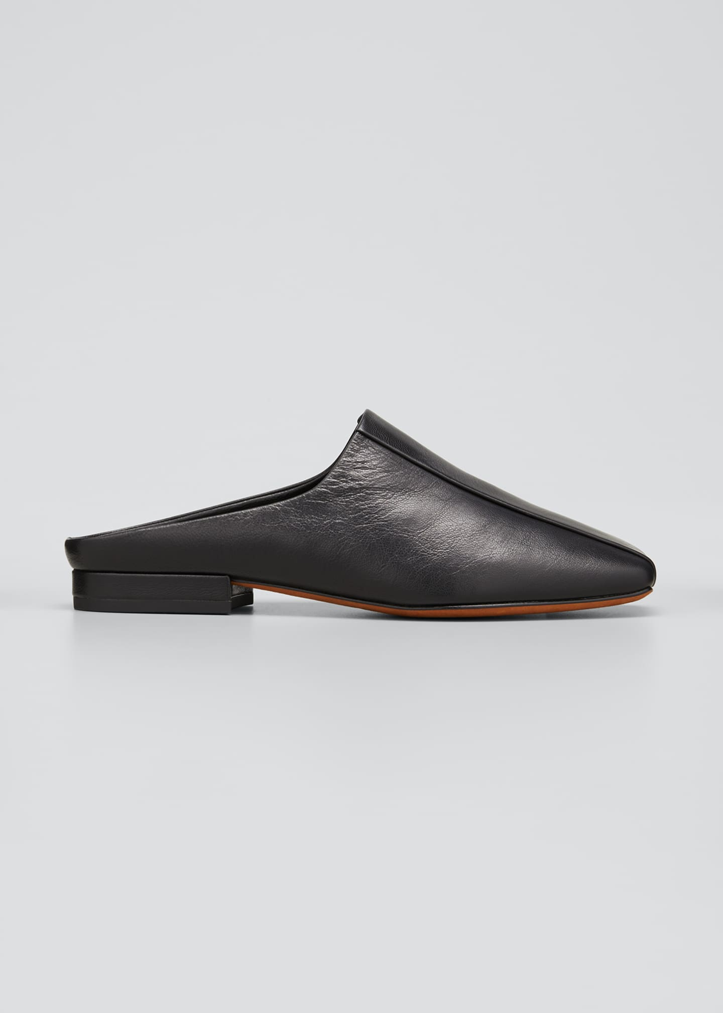 Image 1 of 4: Nida Leather Square-Toe Slide Mules