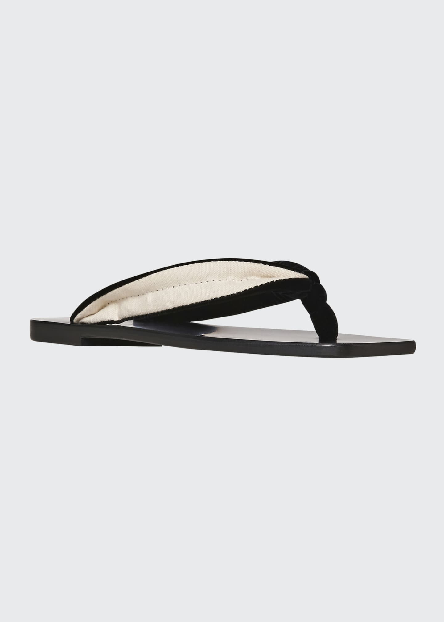 Image 2 of 3: Swan Velvet Square-Toe Thong Sandals