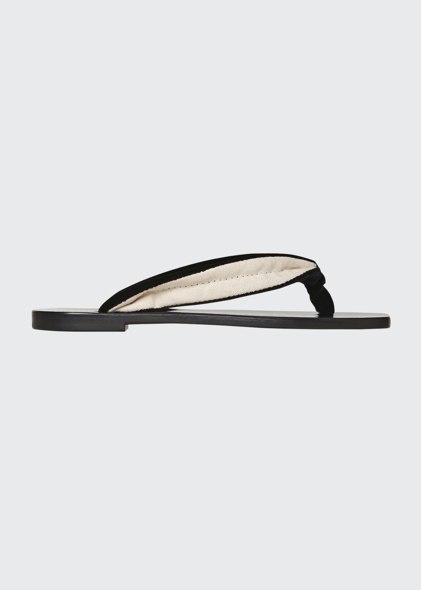 Image 1 of 3: Swan Velvet Square-Toe Thong Sandals