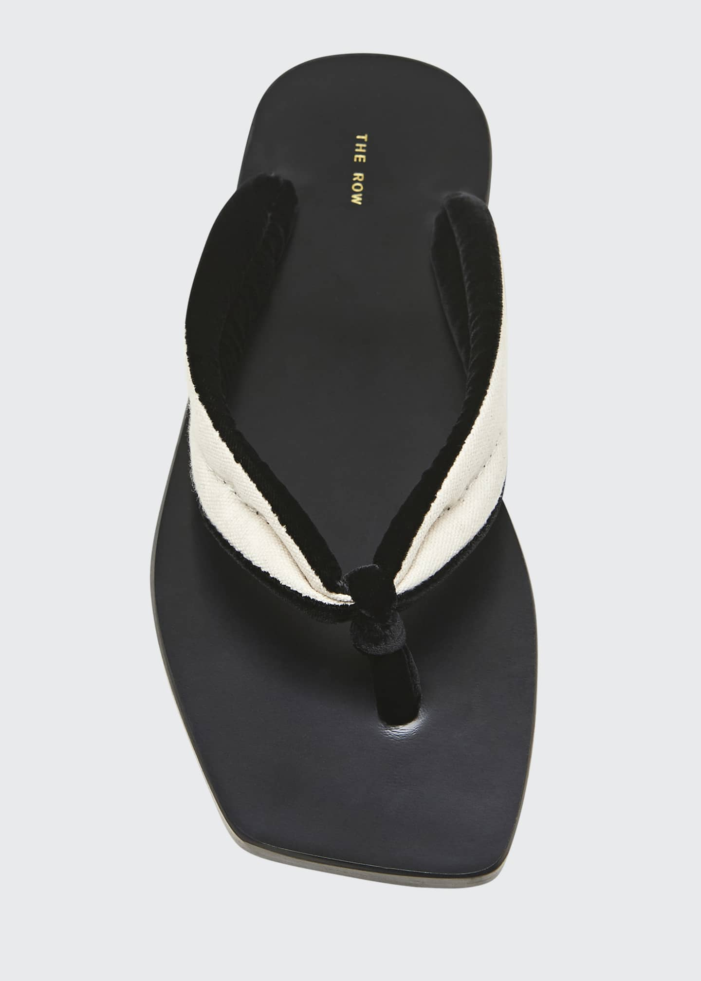 Image 3 of 3: Swan Velvet Square-Toe Thong Sandals