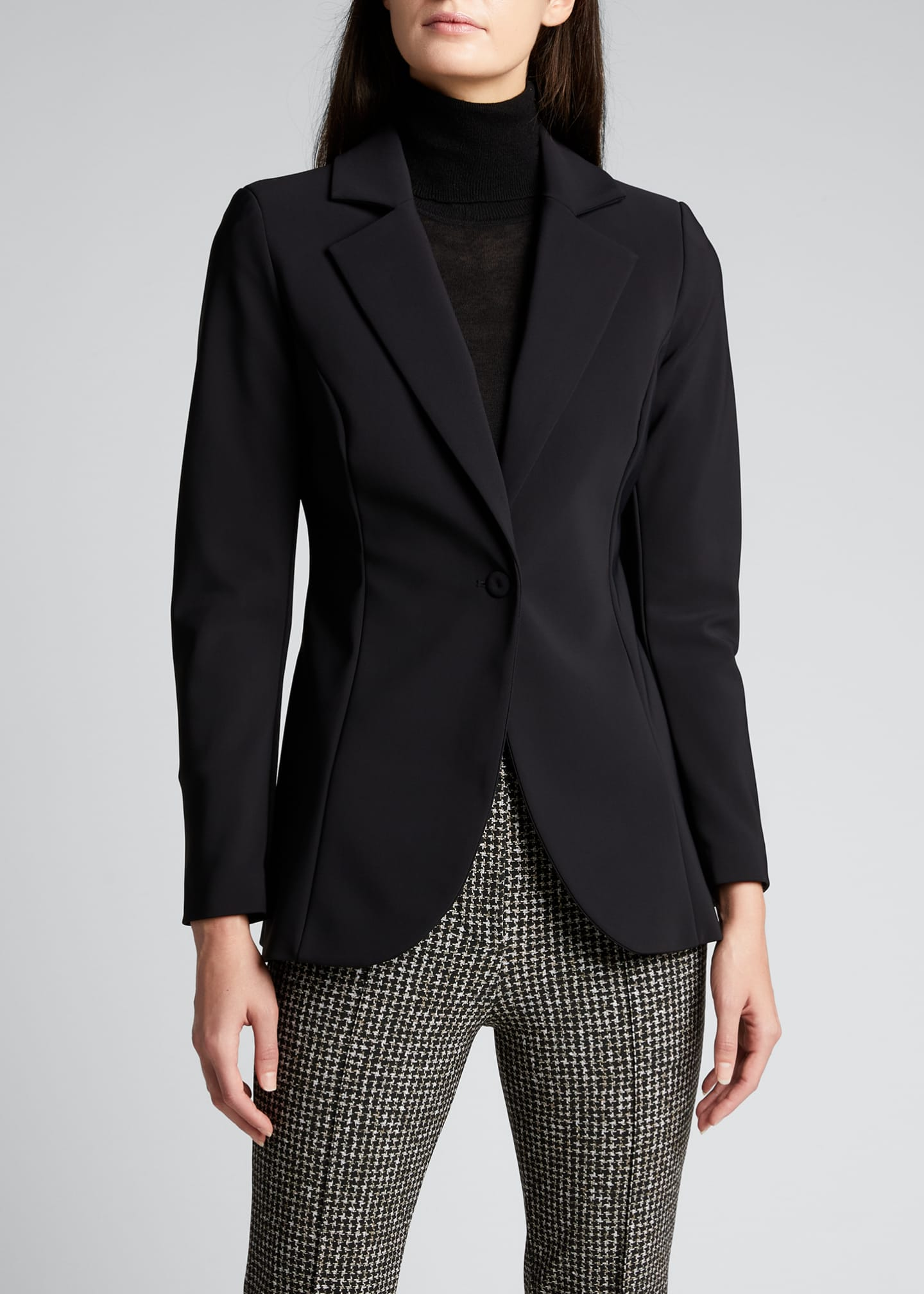Image 3 of 5: Lua One-Button Scuba Jersey Blazer