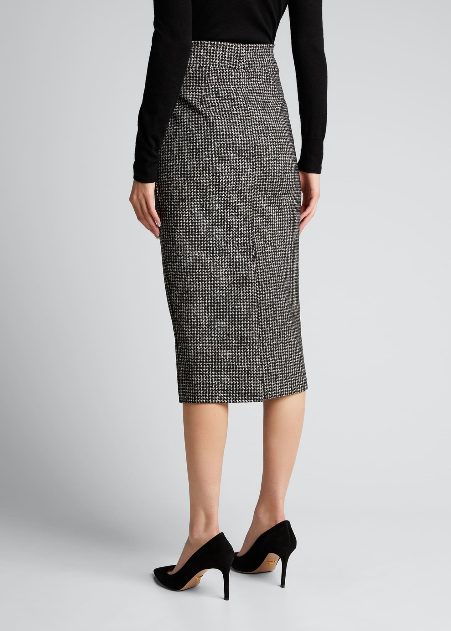 Image 2 of 5: Delfina Houndstooth Printed Knee-Length Pencil Skirt