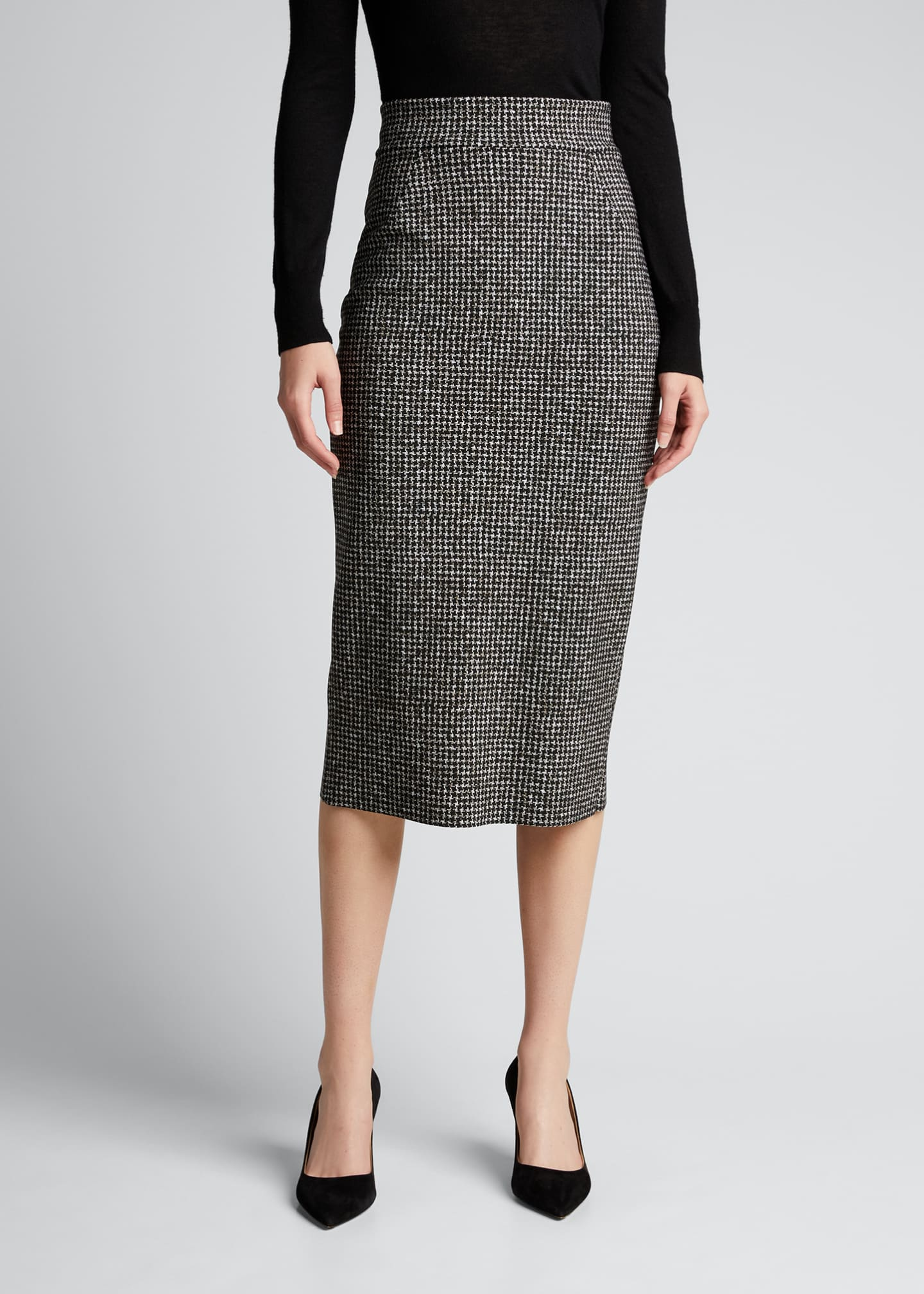 Image 3 of 5: Delfina Houndstooth Printed Knee-Length Pencil Skirt