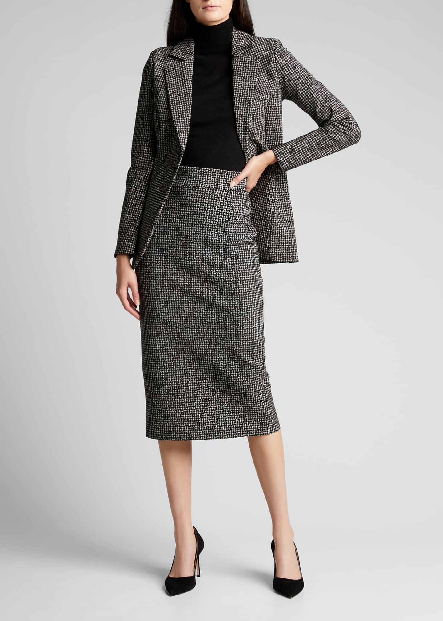Image 1 of 5: Delfina Houndstooth Printed Knee-Length Pencil Skirt