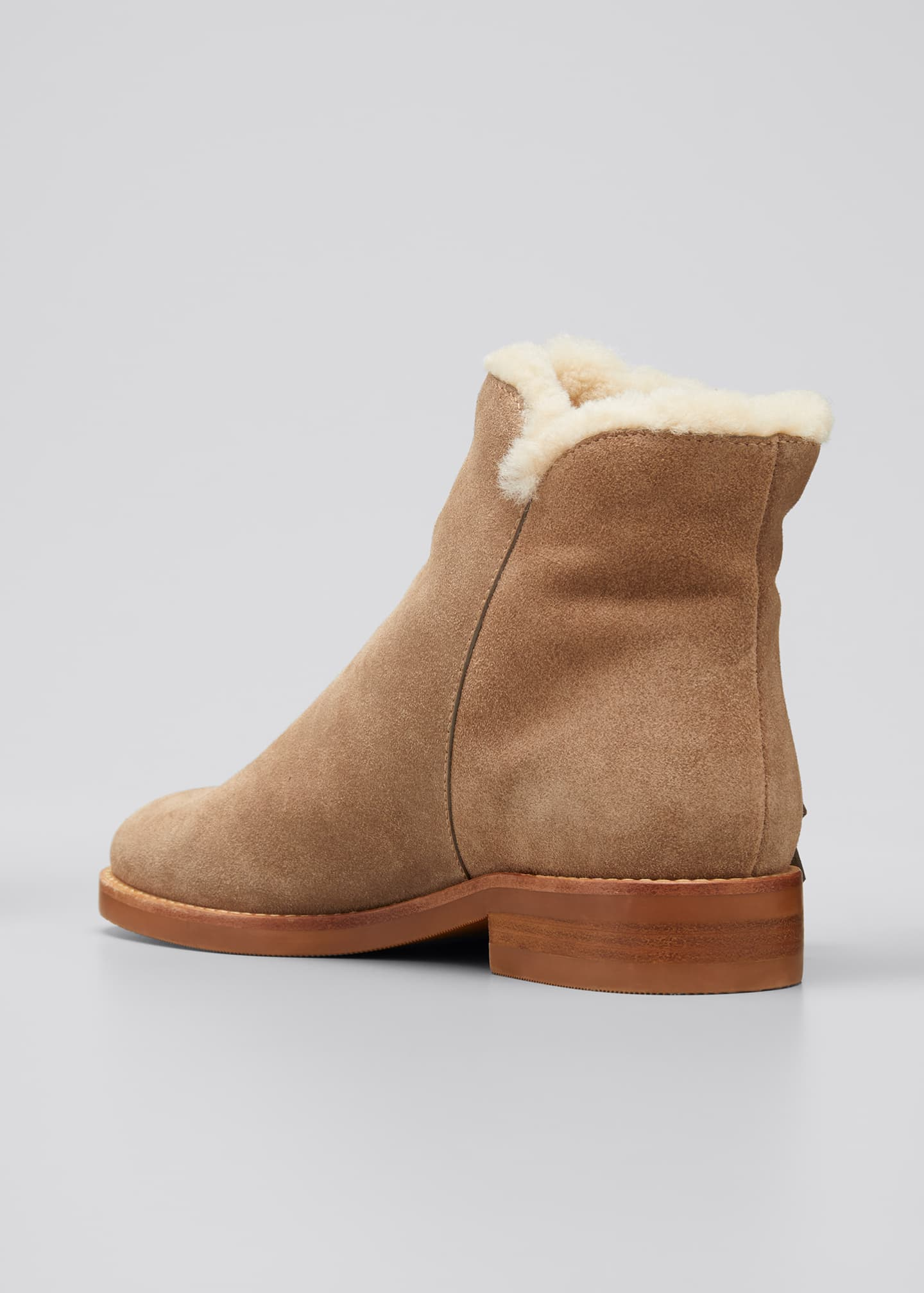 Image 2 of 3: Louise Shearling-Lined Suede Ankle Booties