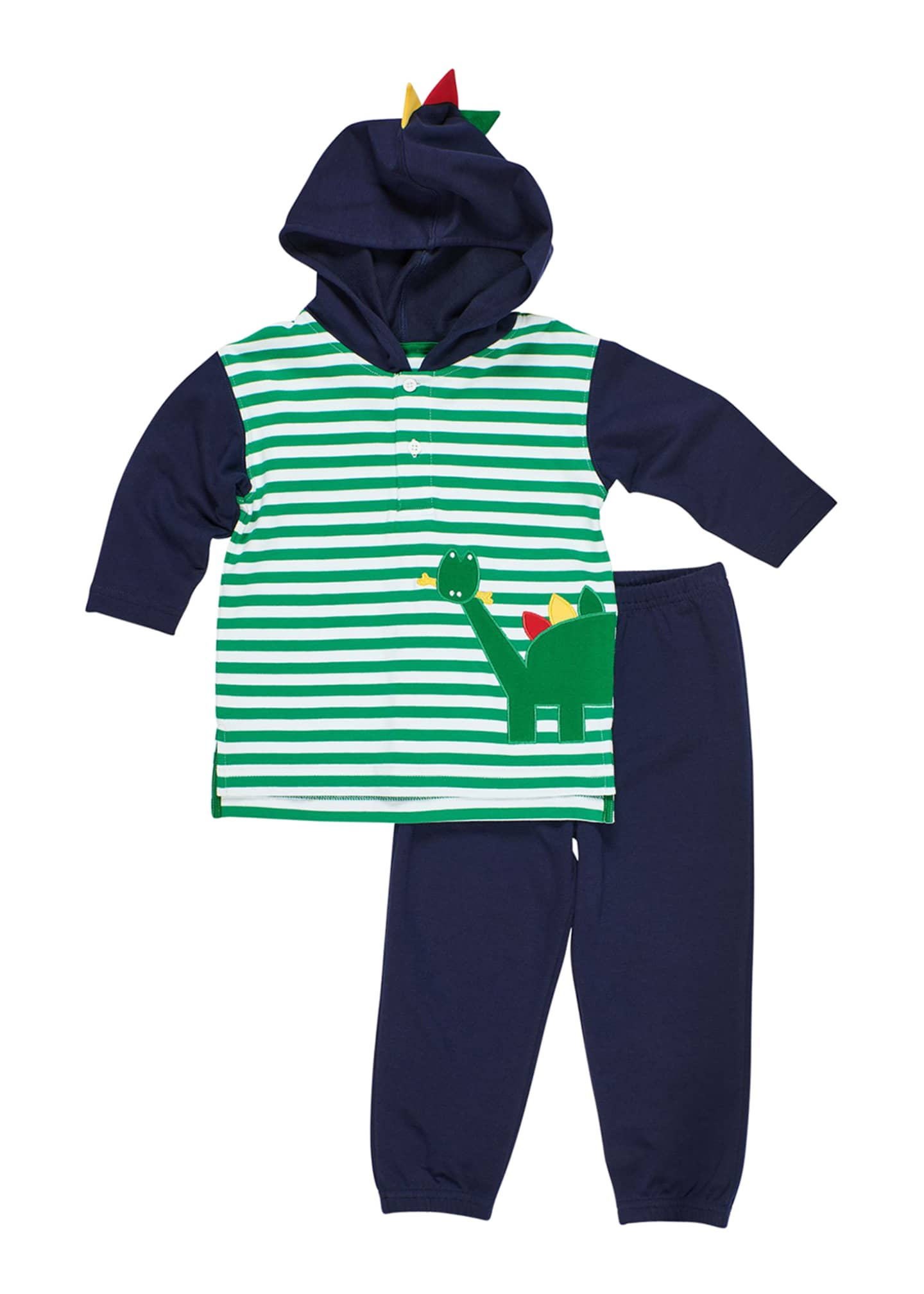 Image 1 of 1: Stripe Dinosaur Hoodie w/ Joggers, Size 6-24 Months