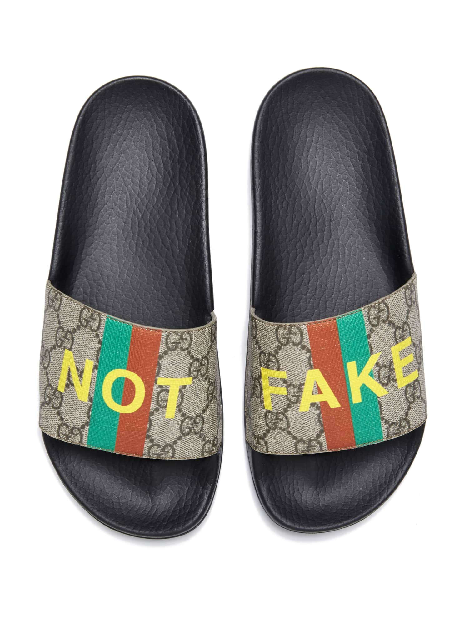 Image 2 of 4: Pursuit Not Fake GG Logo Slide Sandals