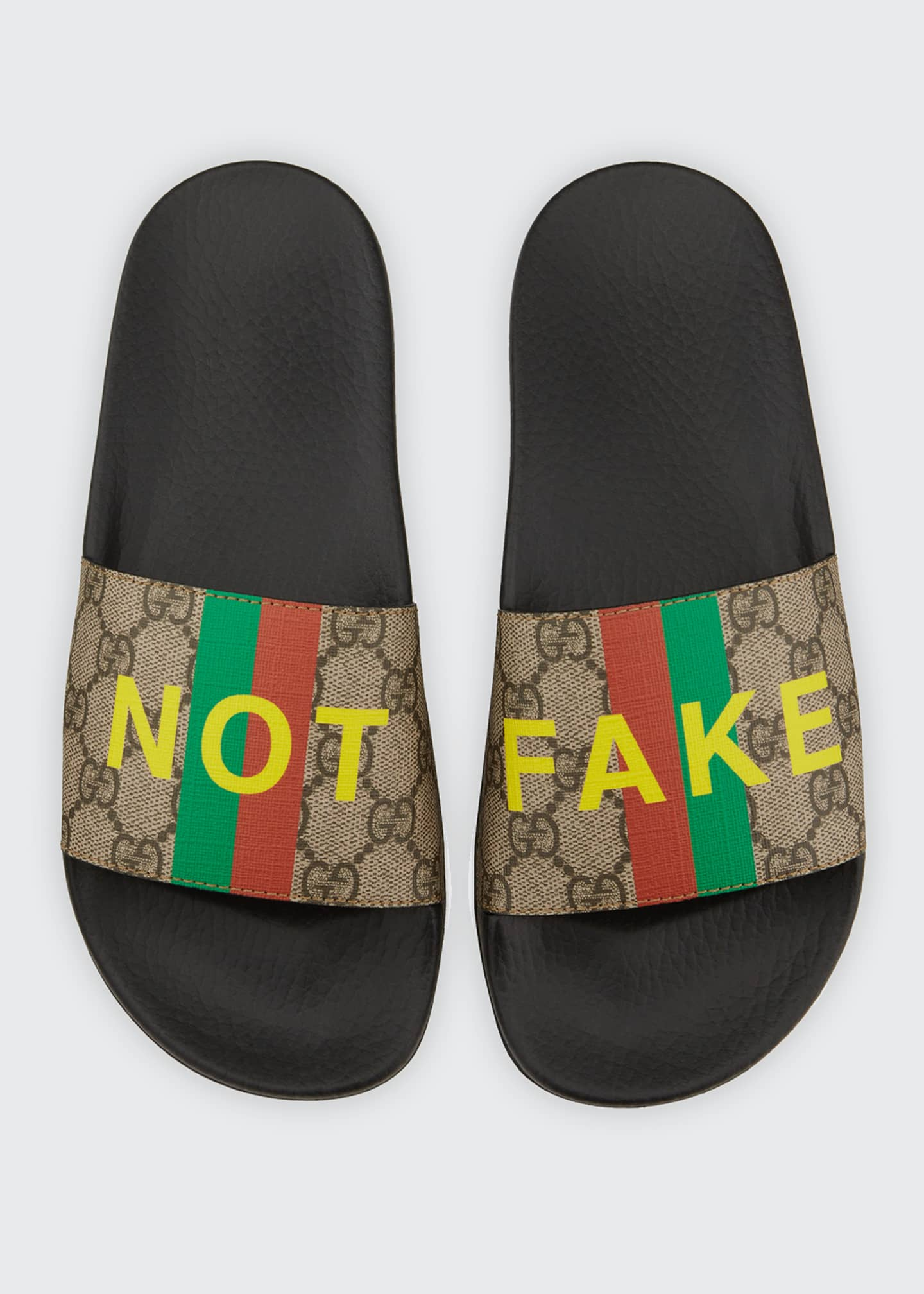 Image 4 of 4: Pursuit Not Fake GG Logo Slide Sandals