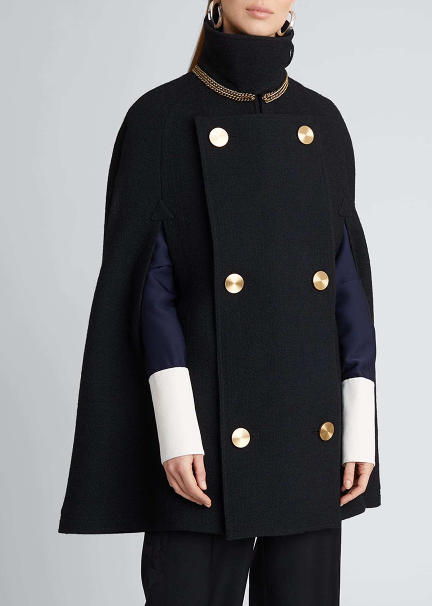 Image 3 of 5: Military Wool-Blend Cape