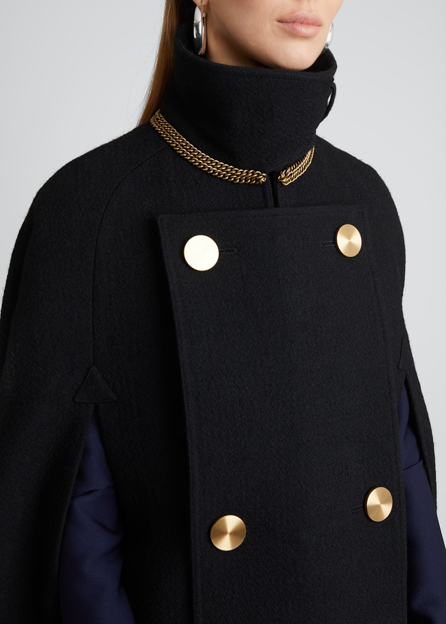 Image 4 of 5: Military Wool-Blend Cape
