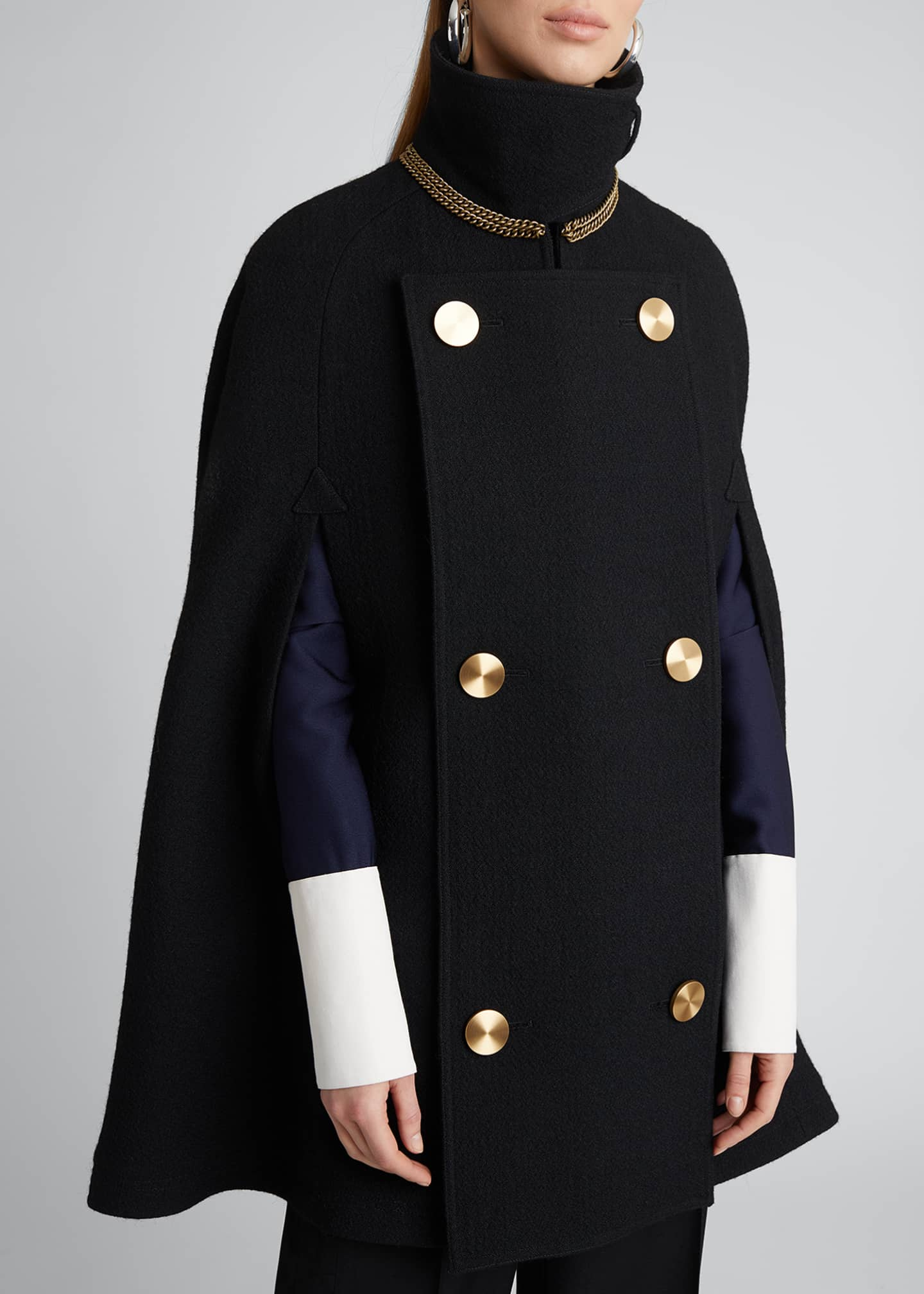 Image 5 of 5: Military Wool-Blend Cape