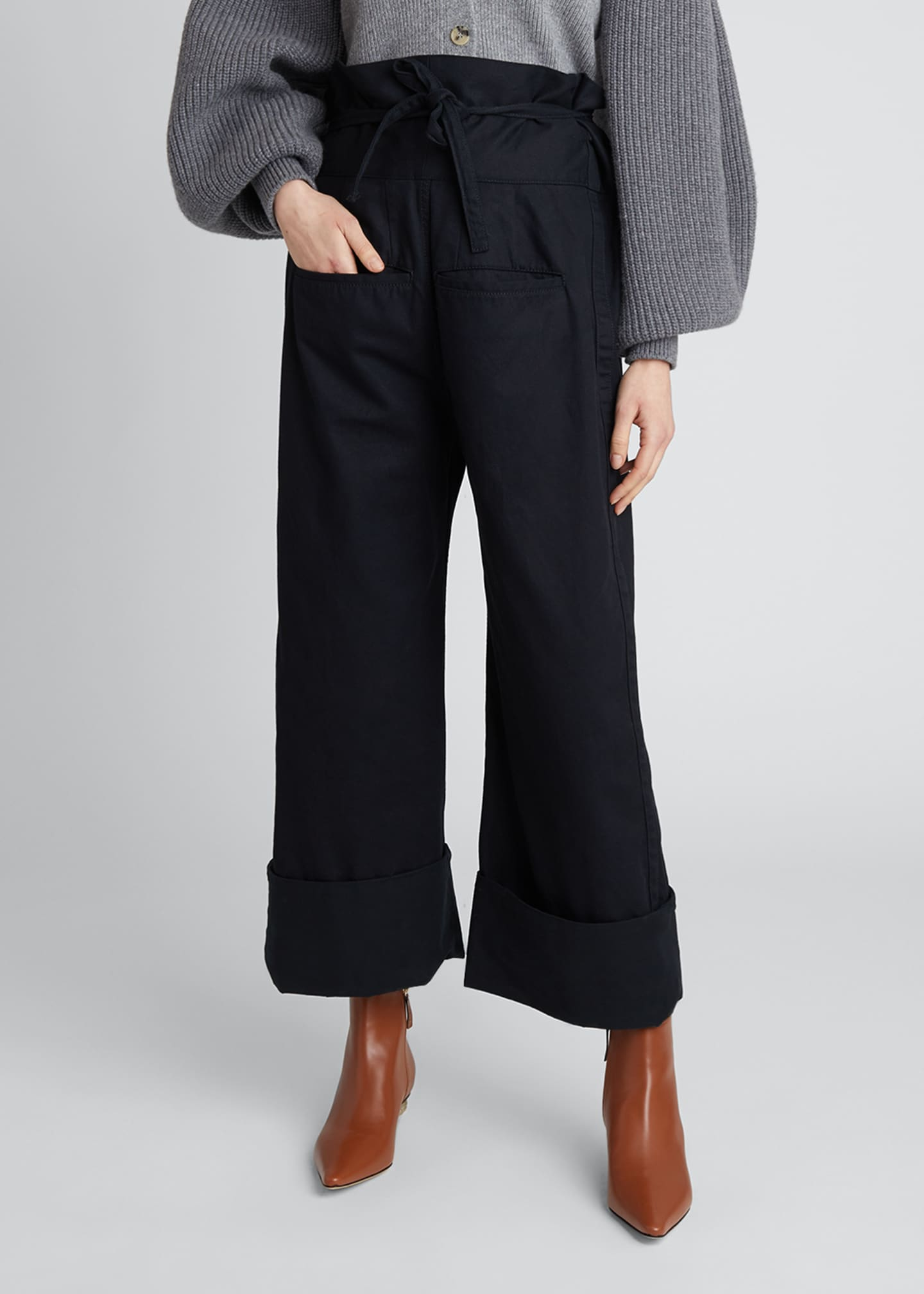 Image 3 of 4: Oversized Turn-Up Trousers