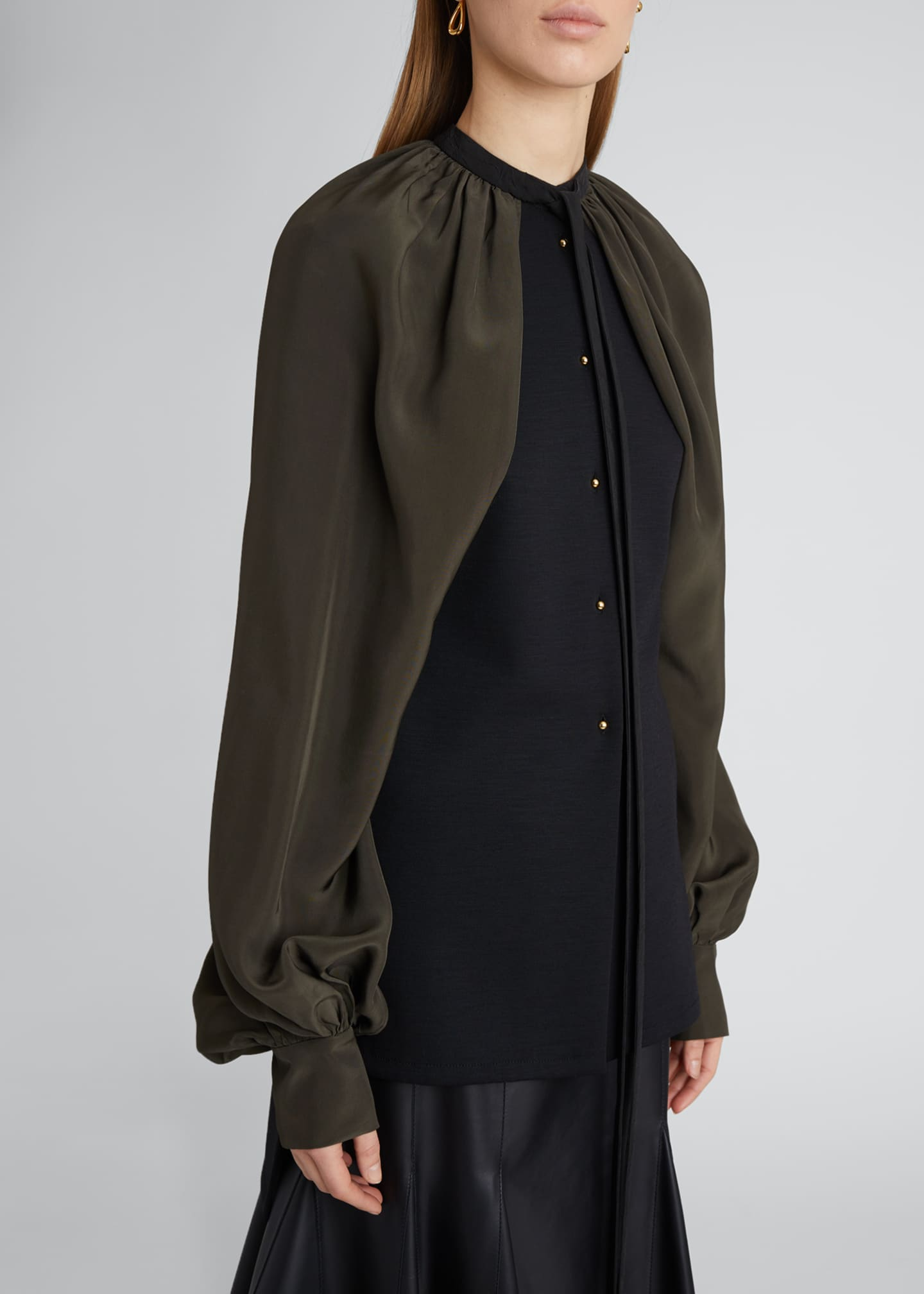 Image 4 of 4: Cape-Sleeve Blouse