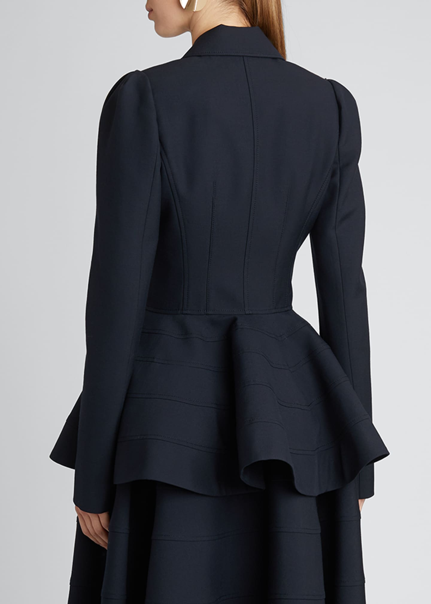 Image 2 of 5: Pleat-Shoulder Wool-Blend Peplum Jacket