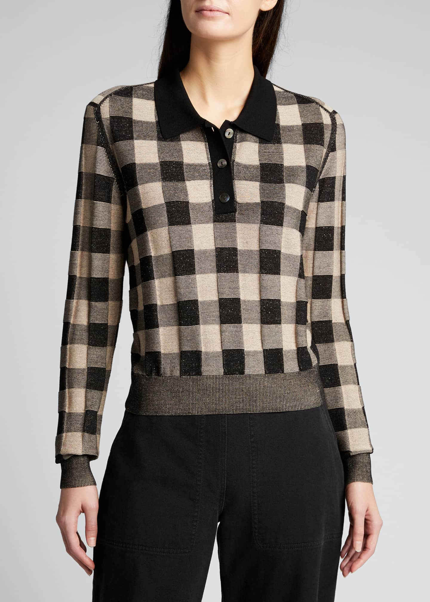Image 3 of 5: Kerria Gingham Long-Sleeve Polo Top