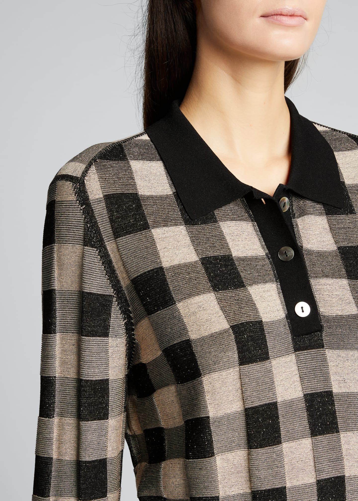 Image 4 of 5: Kerria Gingham Long-Sleeve Polo Top