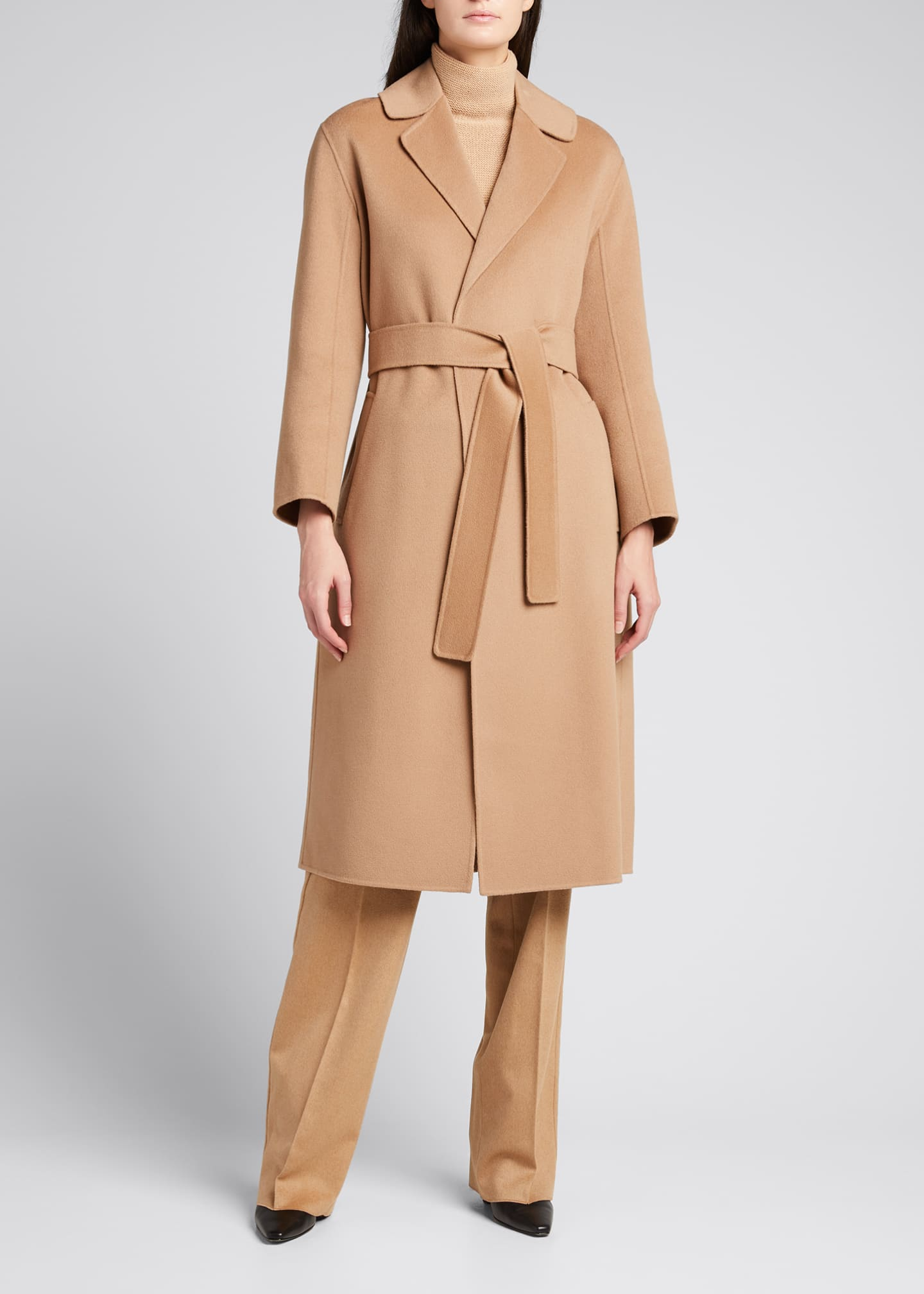 Image 3 of 5: Lugano Virgin Wool Belted Coat, Beige
