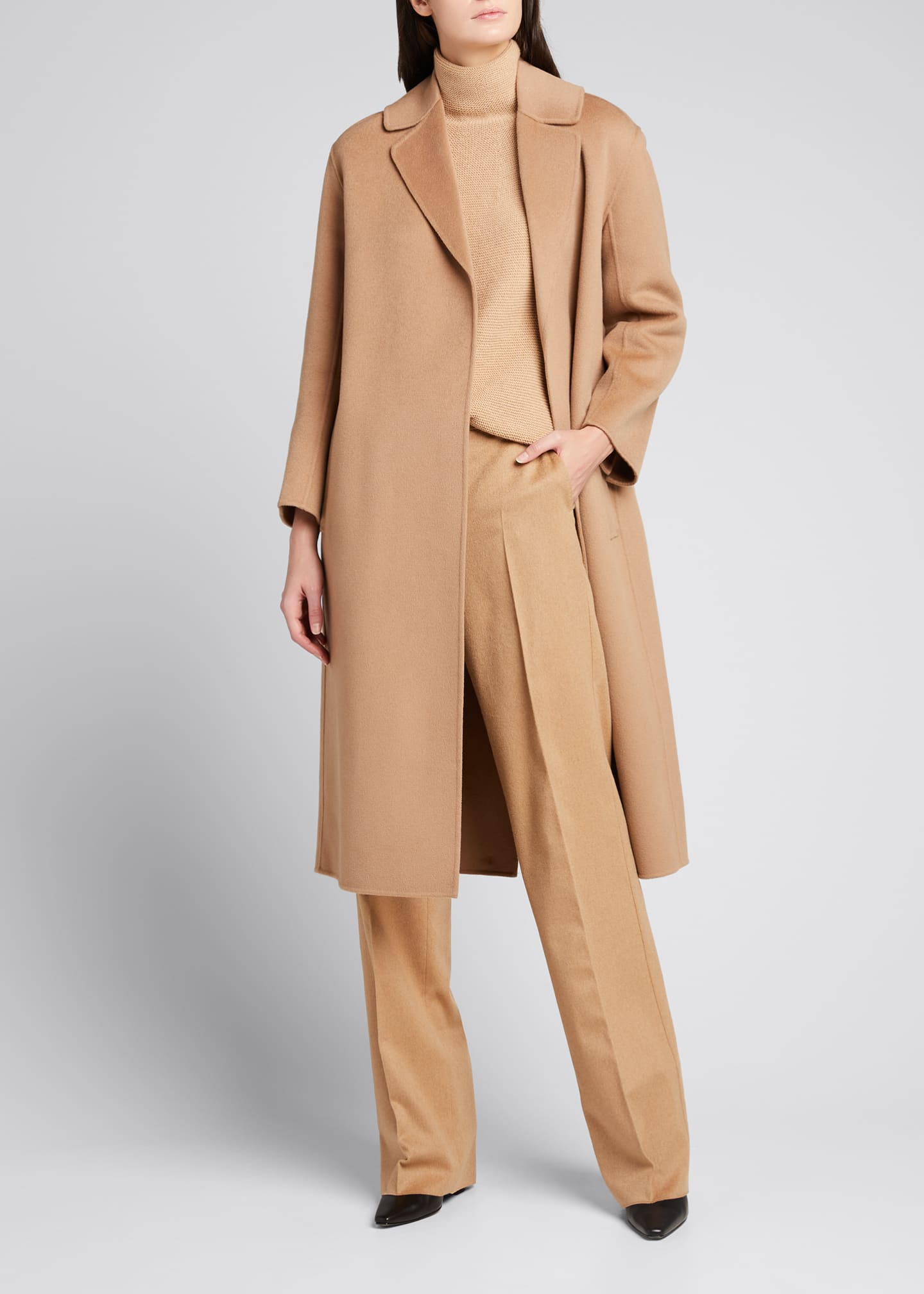 Lugano Virgin Wool Belted Coat, Beige