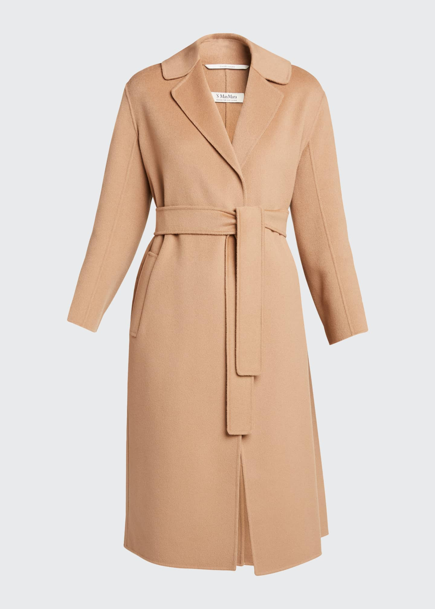Image 5 of 5: Lugano Virgin Wool Belted Coat, Beige