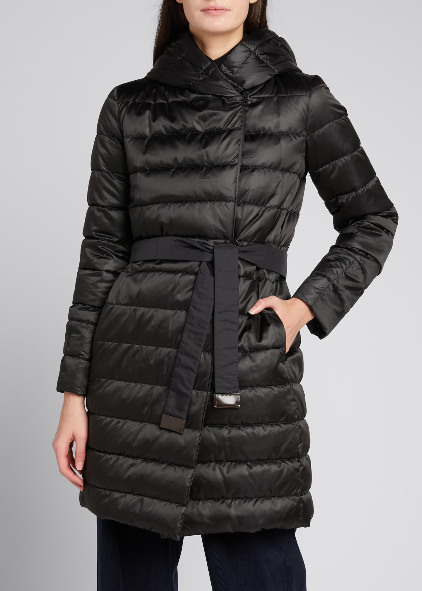 Image 3 of 5: Novef Reversible Channel-Quilt Down Coat, Black
