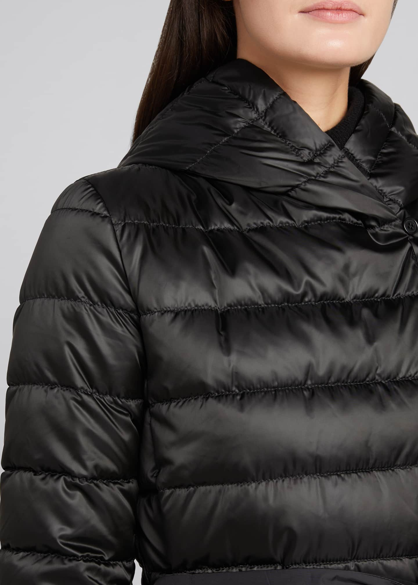 Image 4 of 5: Novef Reversible Channel-Quilt Down Coat, Black