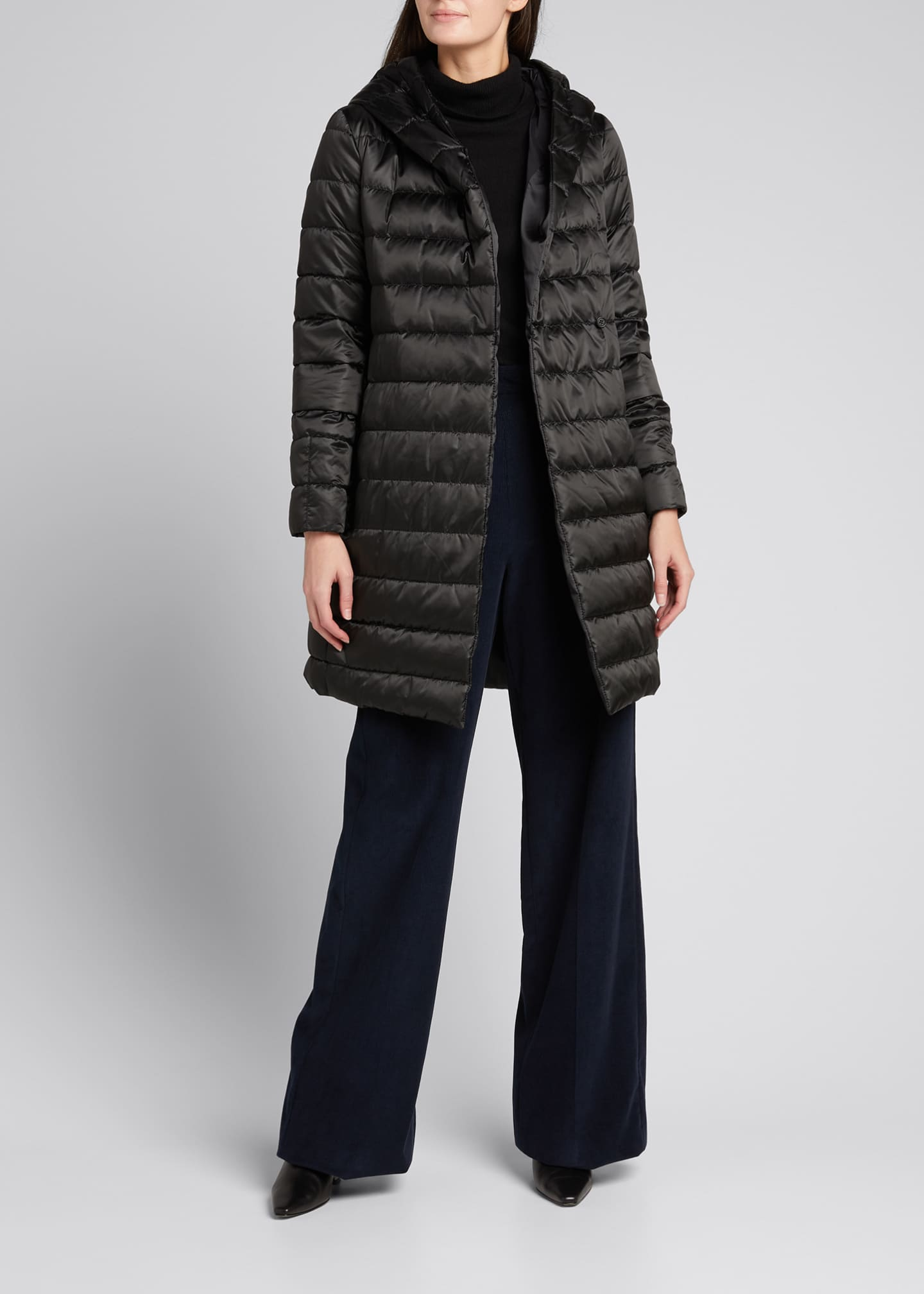 Image 1 of 5: Novef Reversible Channel-Quilt Down Coat, Black
