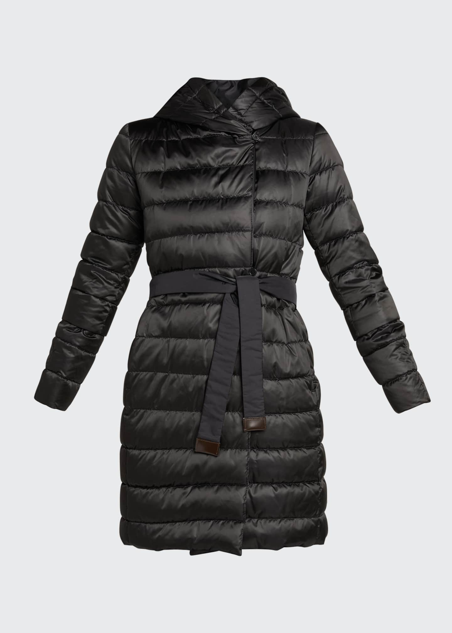 Image 5 of 5: Novef Reversible Channel-Quilt Down Coat, Black