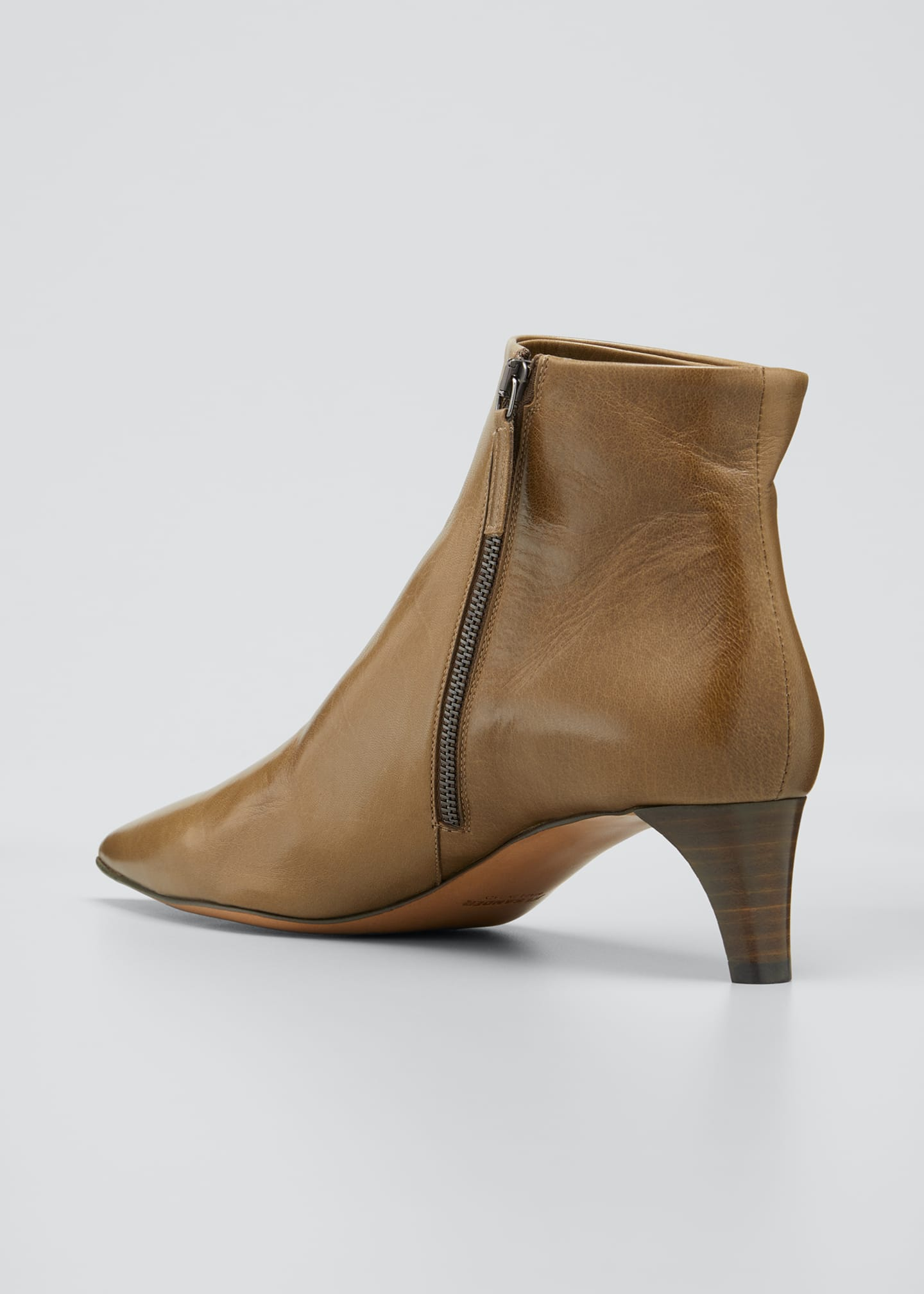Image 2 of 3: Leather Pointed Ankle Boots