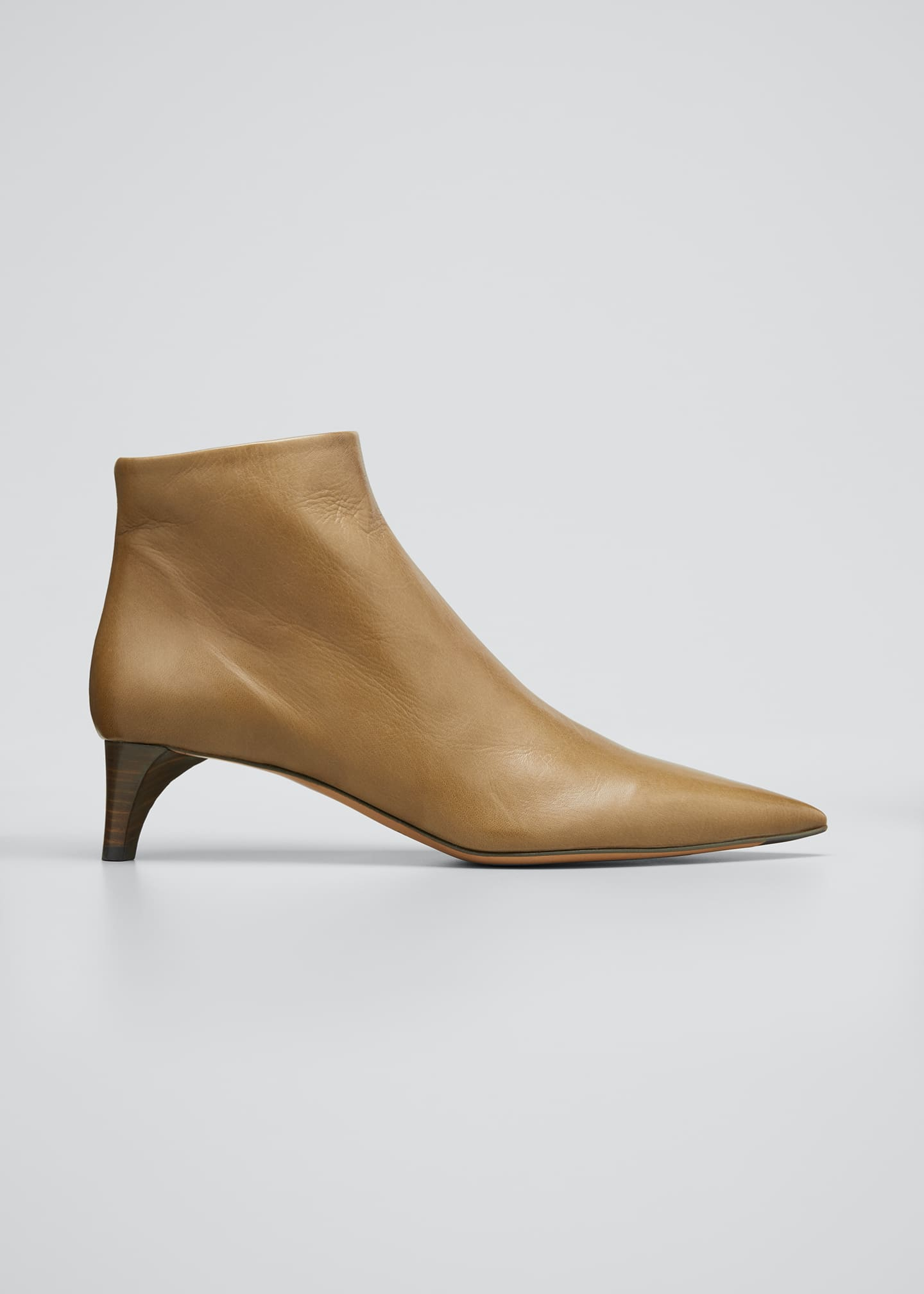 Image 1 of 3: Leather Pointed Ankle Boots