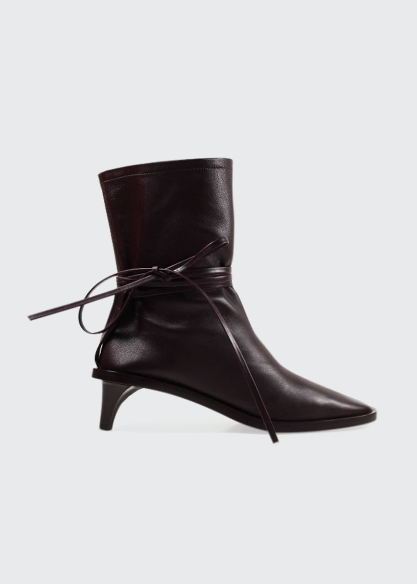 Image 1 of 1: Leather Pointed Ankle-Tie Boots