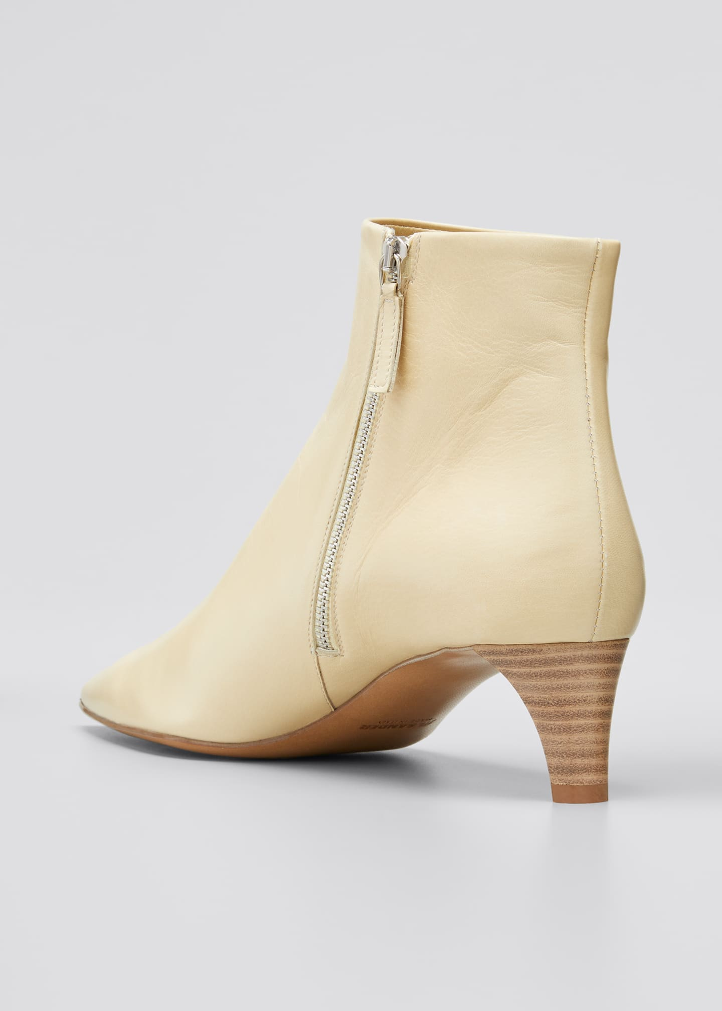 Image 2 of 3: Leather Pointed Ankle Boots, Beige