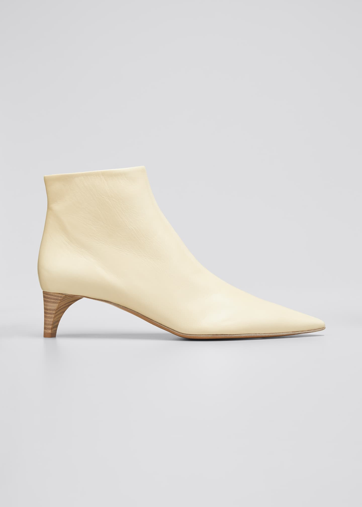 Image 1 of 3: Leather Pointed Ankle Boots, Beige