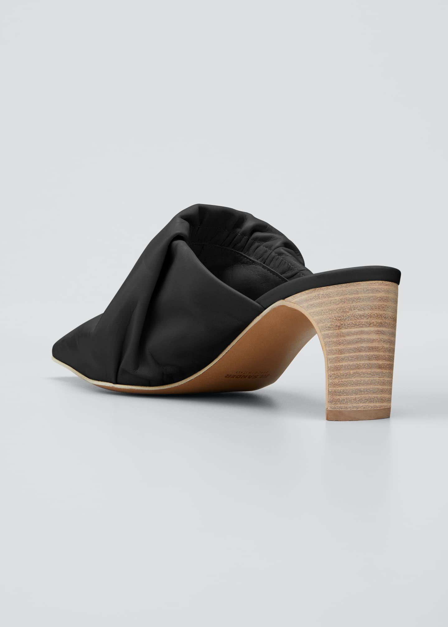 Image 2 of 3: Ruched Leather Pointed Mules
