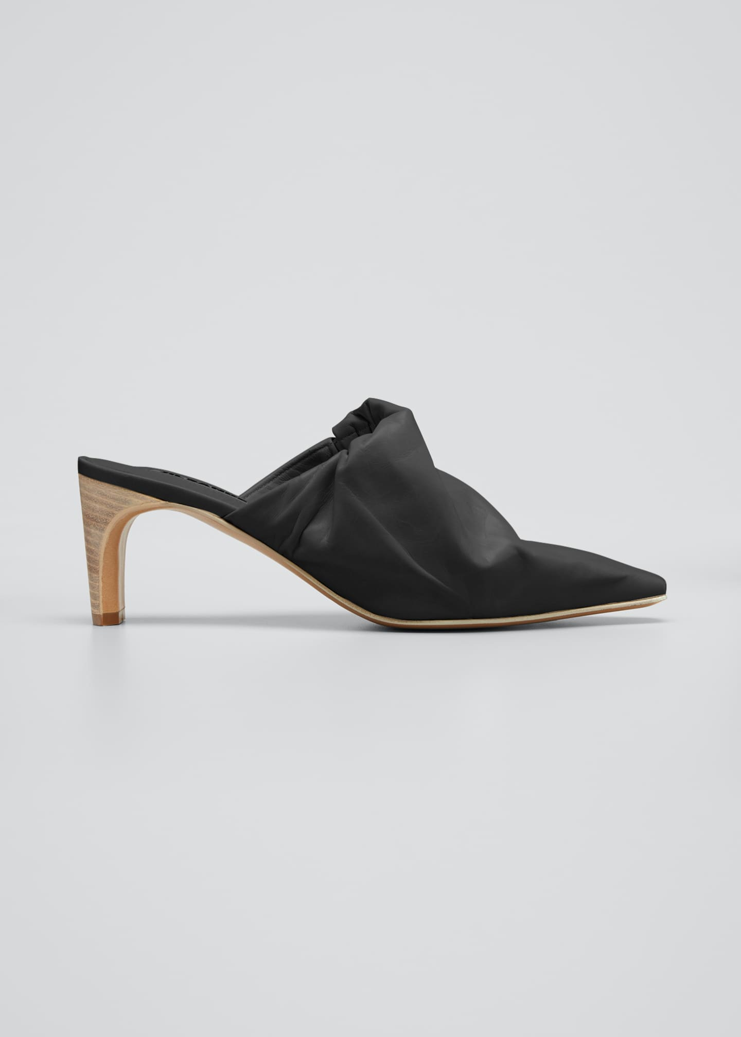 Image 1 of 3: Ruched Leather Pointed Mules