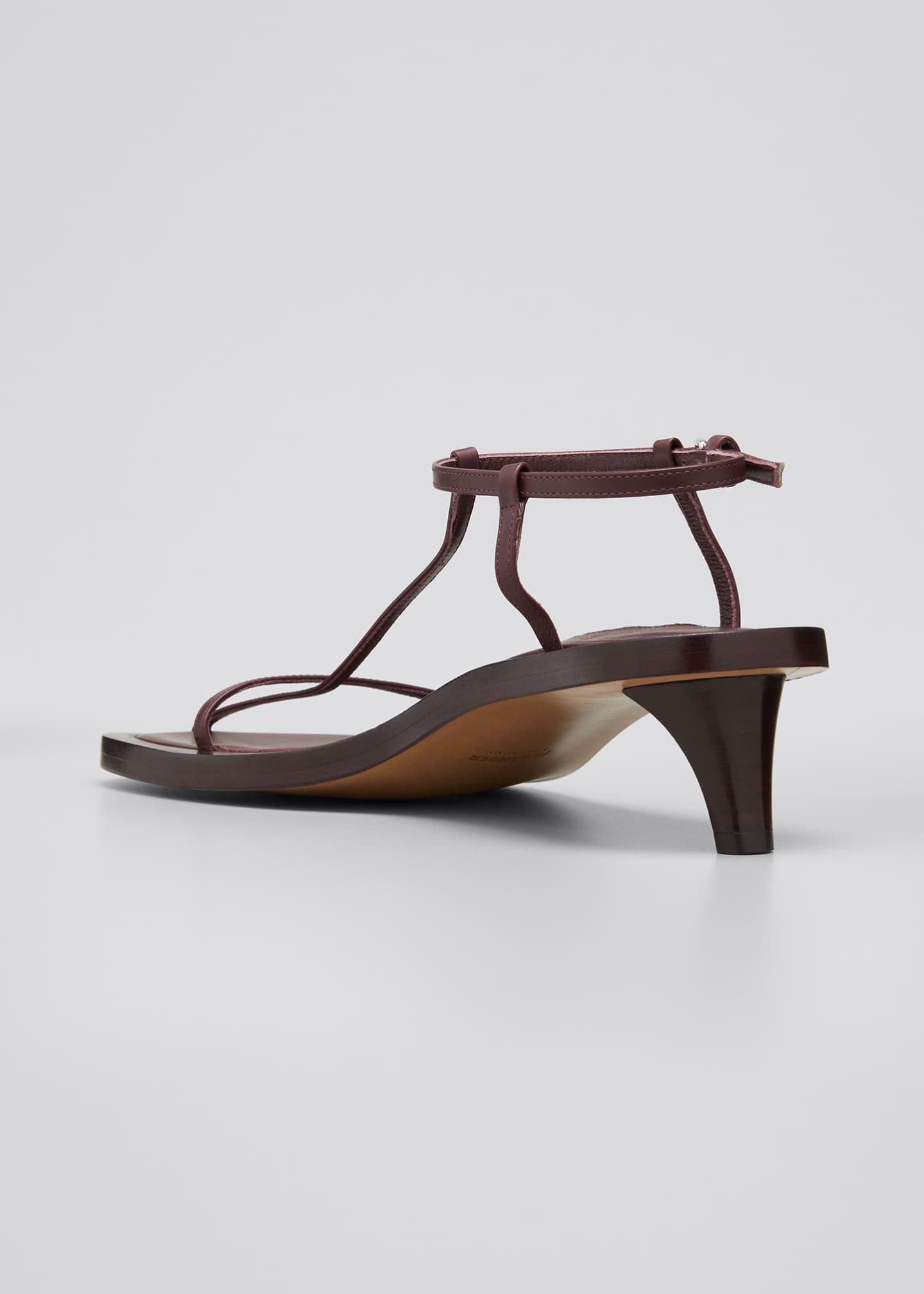 Image 2 of 3: Leather T-Strap Kitten-Heel Sandals