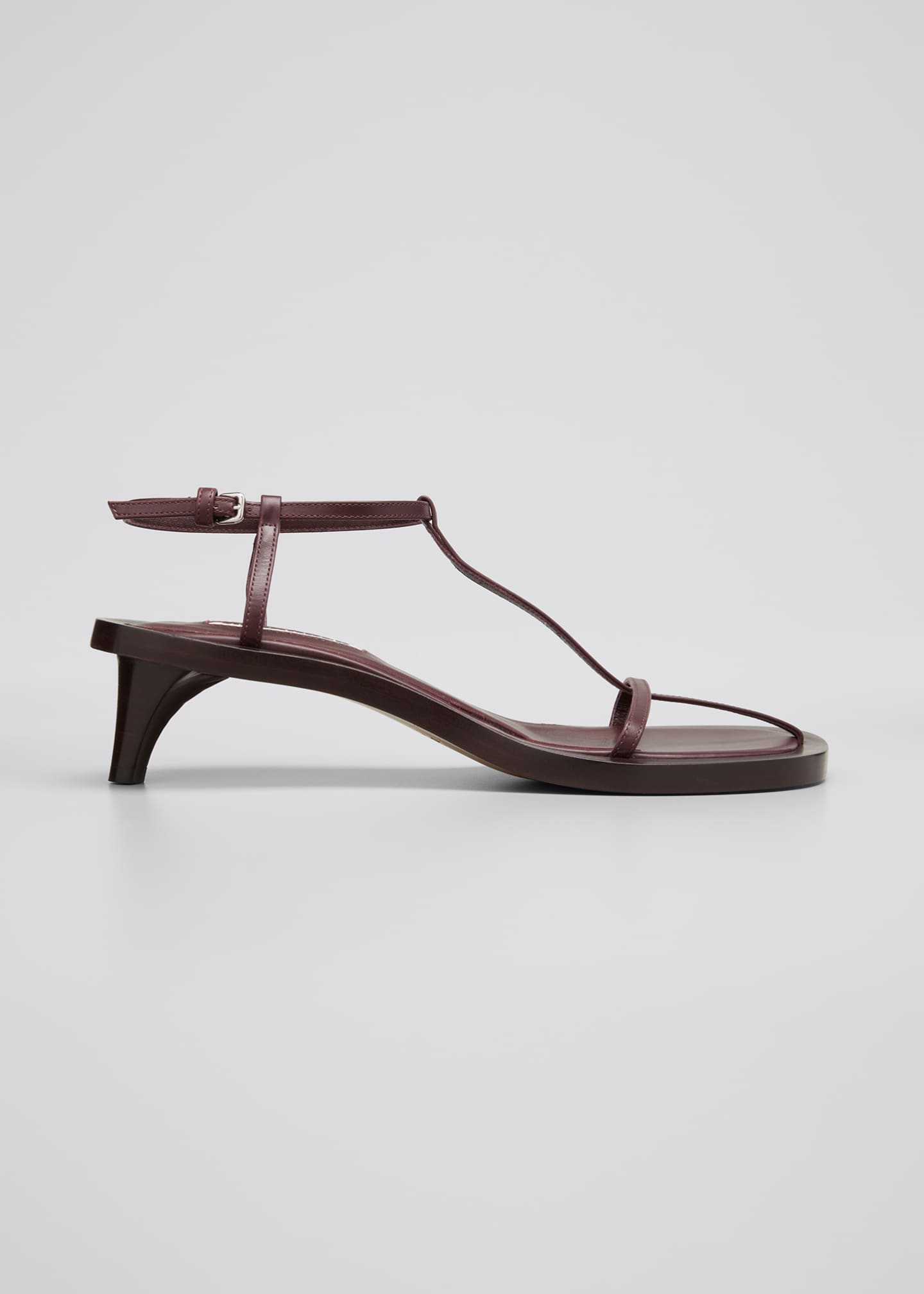 Image 1 of 3: Leather T-Strap Kitten-Heel Sandals